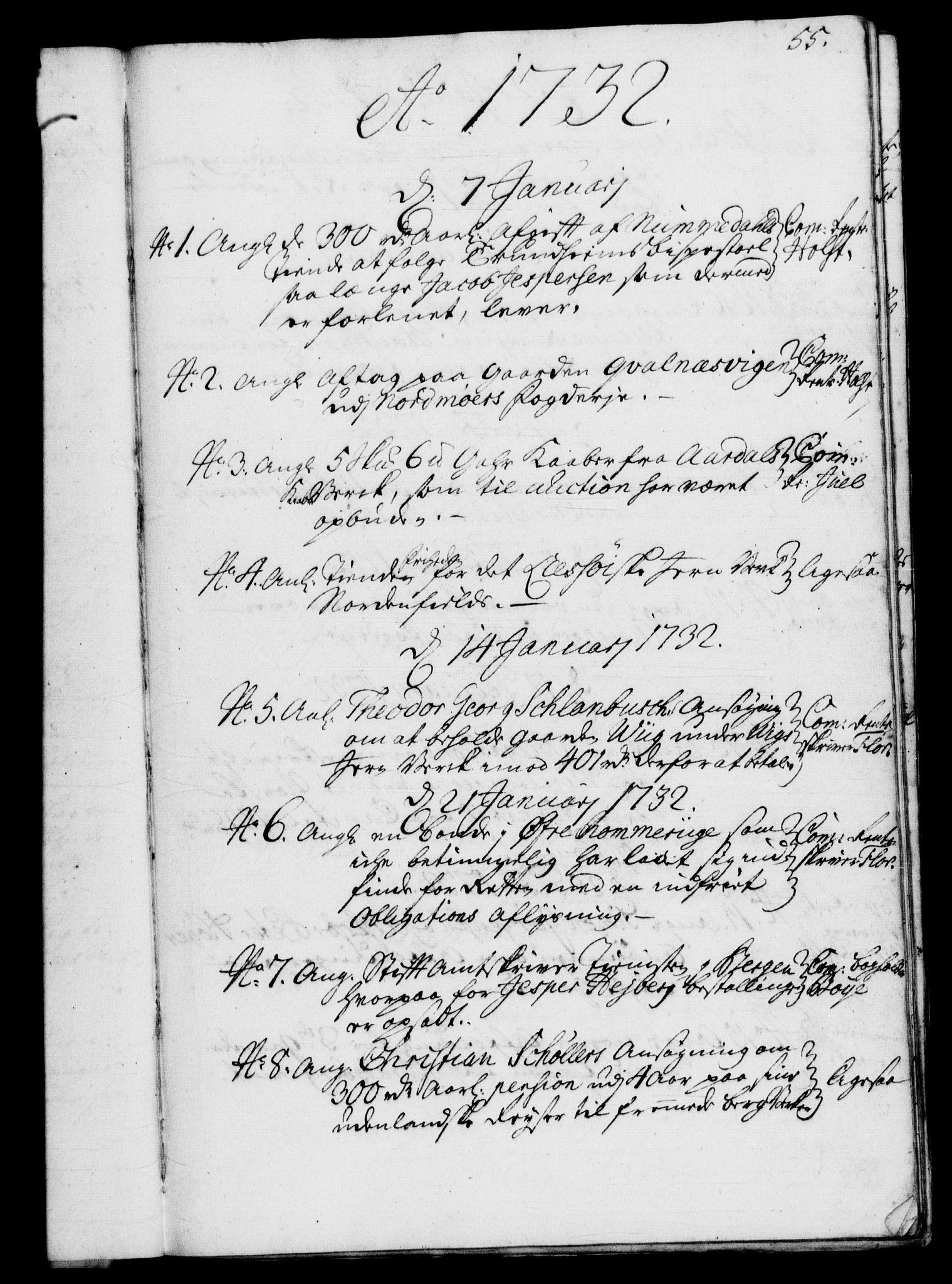 RA, Rentekammeret, Kammerkanselliet, G/Gf/Gfb/L0003: Register til norske relasjons- og resolusjonsprotokoller (merket RK 52.98), 1729-1736, s. 55
