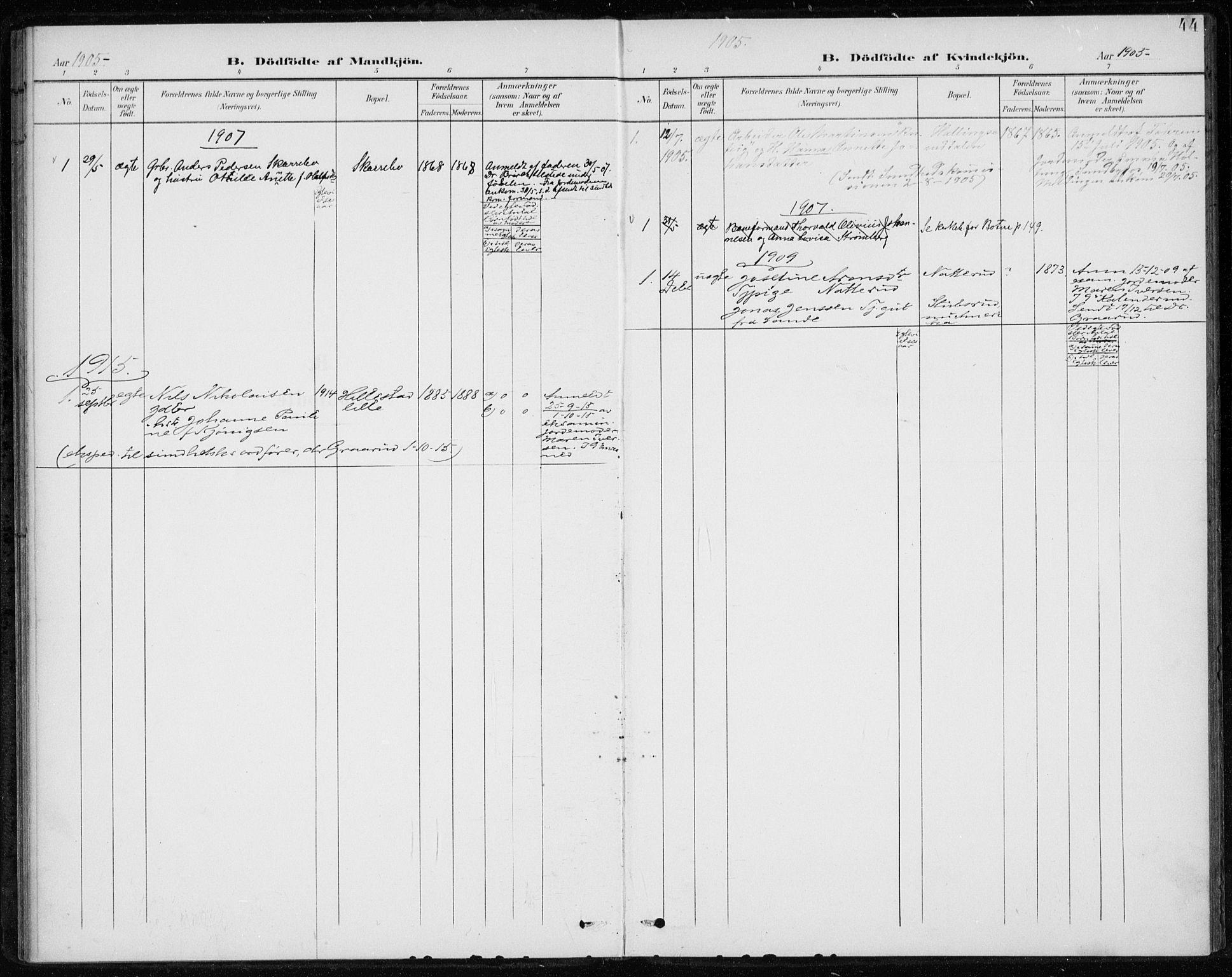 SAKO, Botne kirkebøker, F/Fb/L0002: Ministerialbok nr. II 2, 1902-1915, s. 44