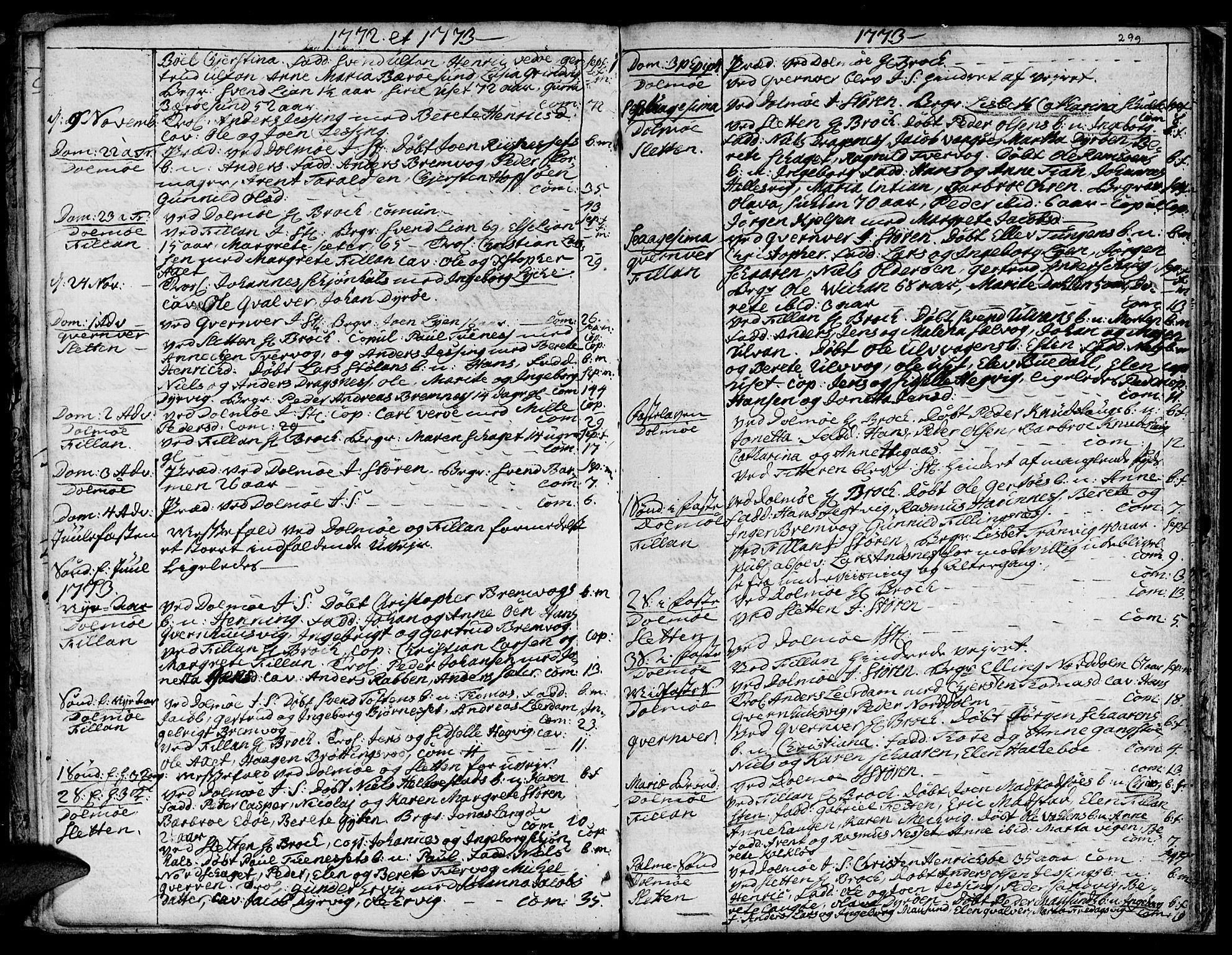 SAT, Ministerialprotokoller, klokkerbøker og fødselsregistre - Sør-Trøndelag, 634/L0525: Ministerialbok nr. 634A01, 1736-1775, s. 299