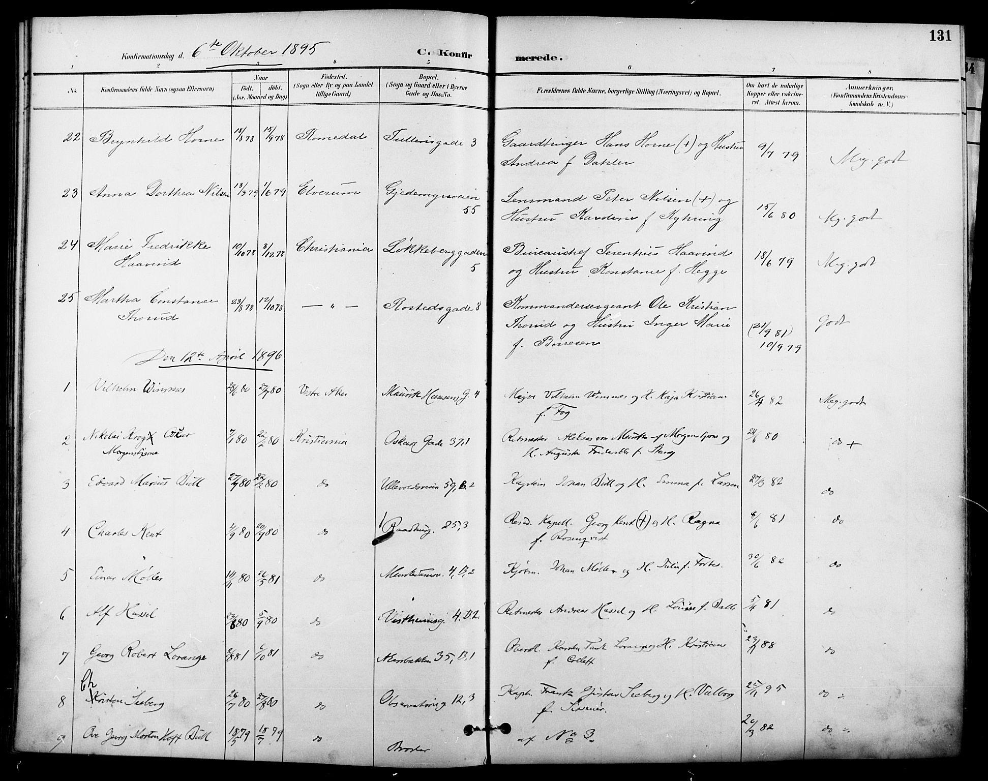 SAO, Garnisonsmenigheten Kirkebøker, F/Fa/L0013: Ministerialbok nr. 13, 1894-1904, s. 131