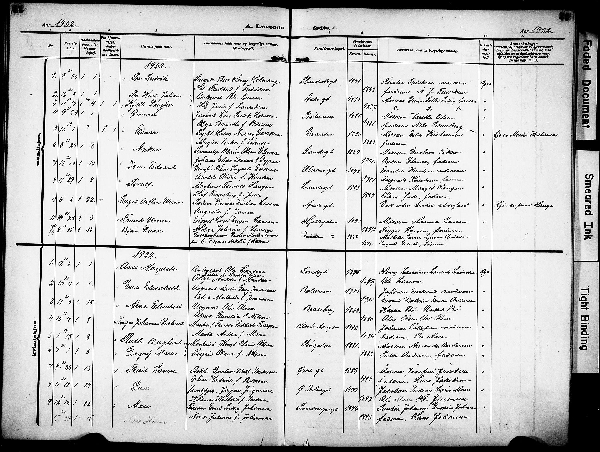 SAKO, Skien kirkebøker, G/Ga/L0010: Klokkerbok nr. 10, 1920-1931, s. 24