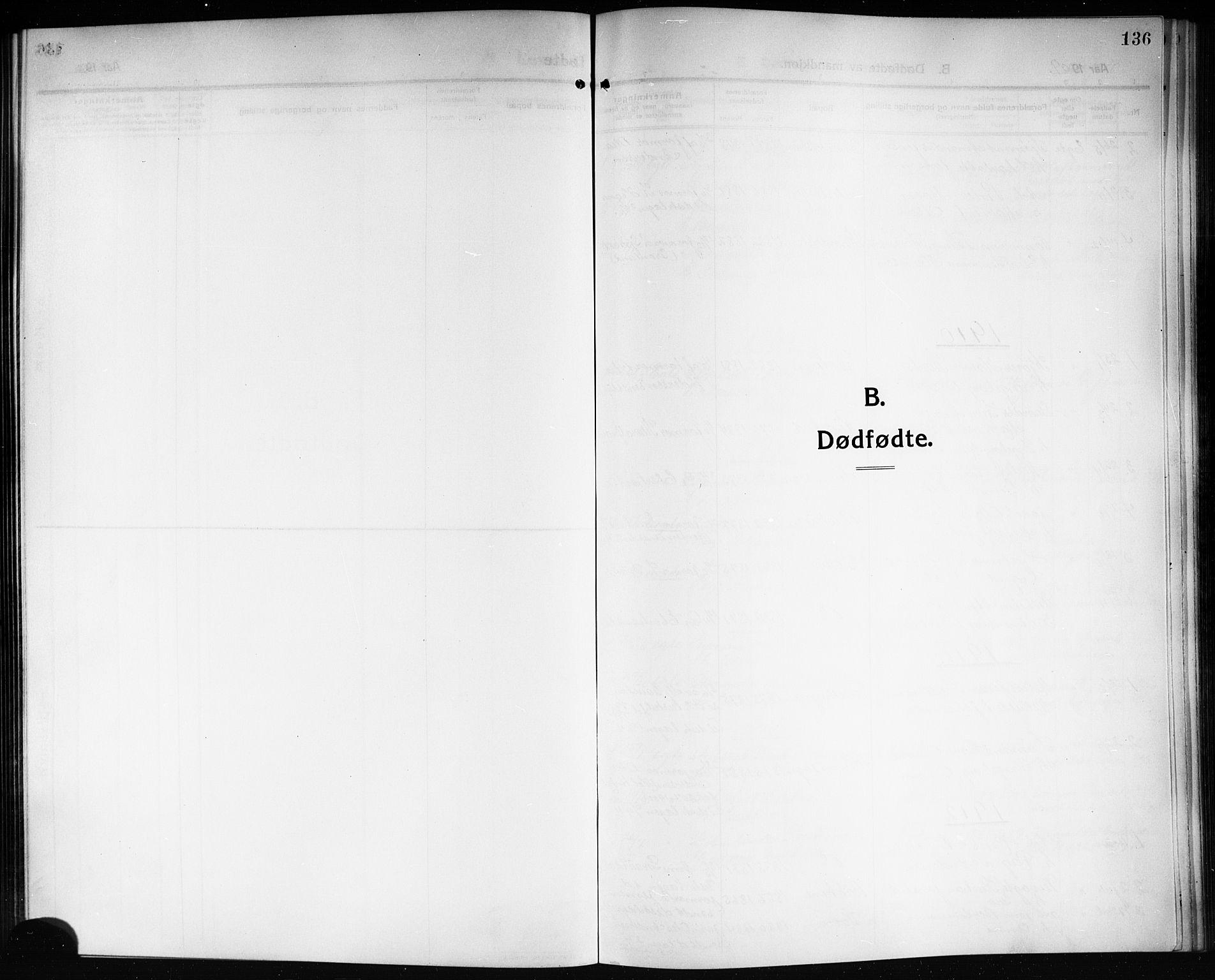 SAKO, Solum kirkebøker, G/Ga/L0009: Klokkerbok nr. I 9, 1909-1922, s. 136