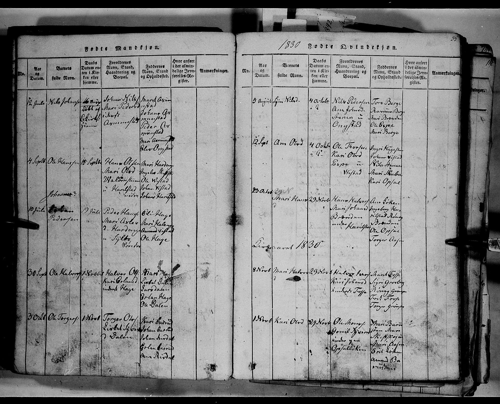 SAH, Fron prestekontor, H/Ha/Hab/L0003: Klokkerbok nr. 3, 1816-1850, s. 35