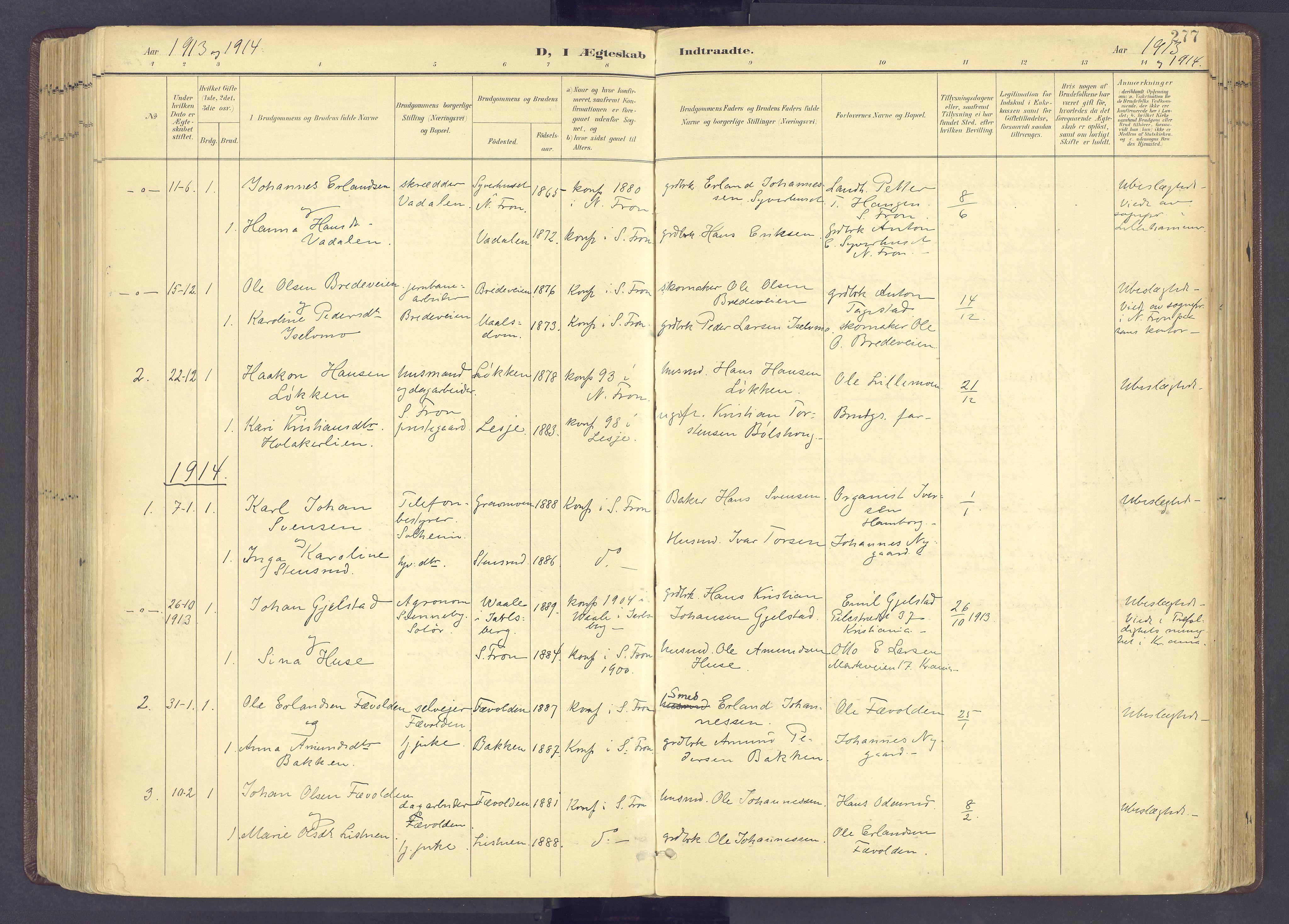 SAH, Sør-Fron prestekontor, H/Ha/Haa/L0004: Ministerialbok nr. 4, 1898-1919, s. 277