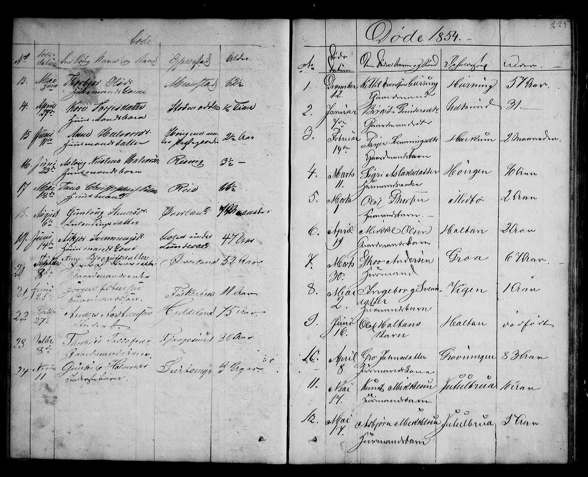 SAKO, Kviteseid kirkebøker, G/Ga/L0001: Klokkerbok nr. I 1, 1850-1893, s. 225