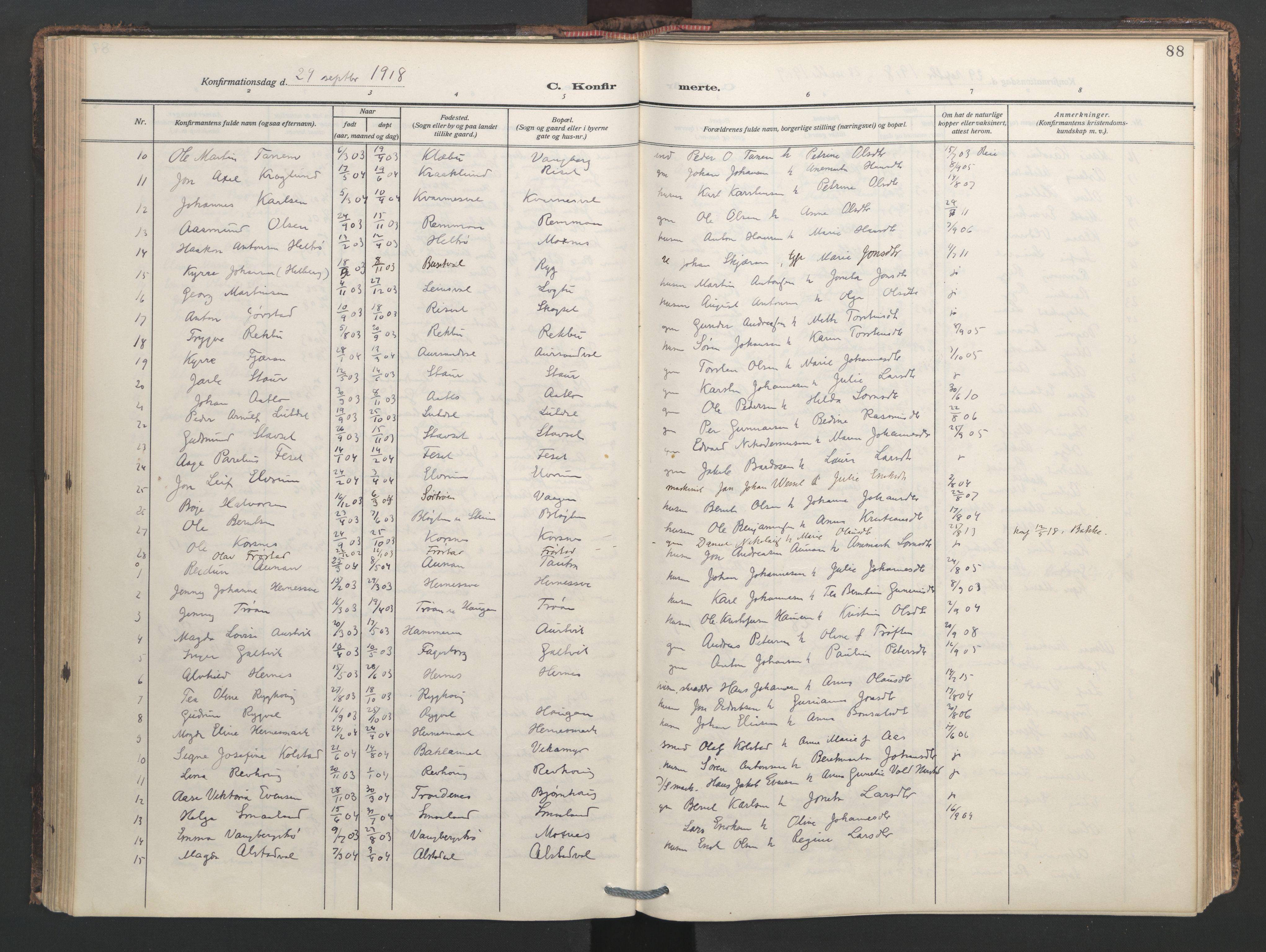 SAT, Ministerialprotokoller, klokkerbøker og fødselsregistre - Nord-Trøndelag, 713/L0123: Ministerialbok nr. 713A12, 1911-1925, s. 88