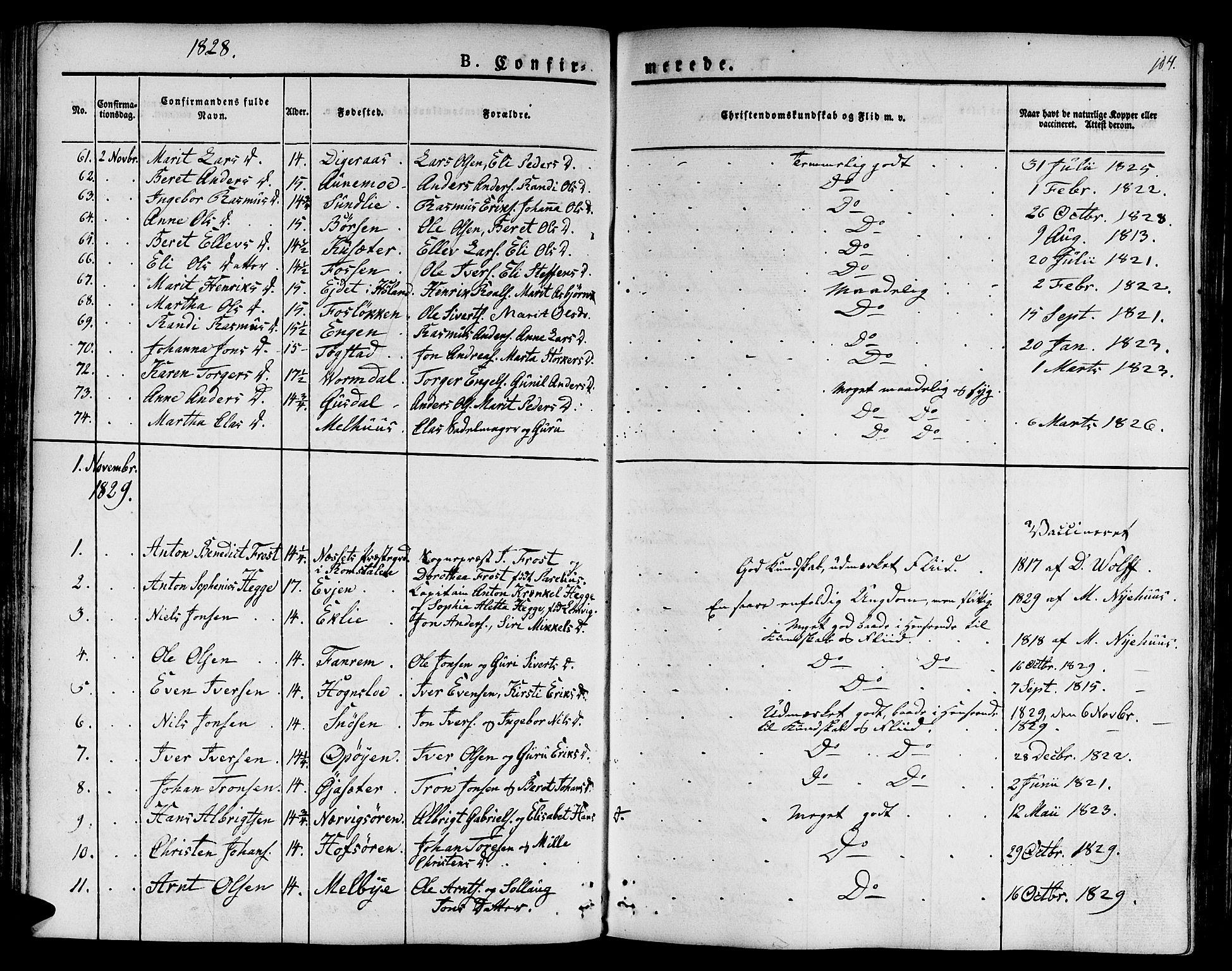 SAT, Ministerialprotokoller, klokkerbøker og fødselsregistre - Sør-Trøndelag, 668/L0804: Ministerialbok nr. 668A04, 1826-1839, s. 104