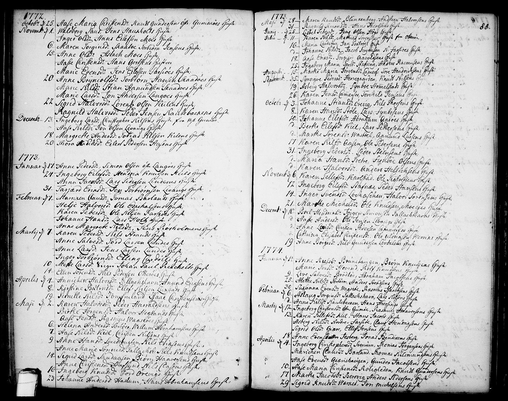SAKO, Sannidal kirkebøker, F/Fa/L0002: Ministerialbok nr. 2, 1767-1802, s. 88
