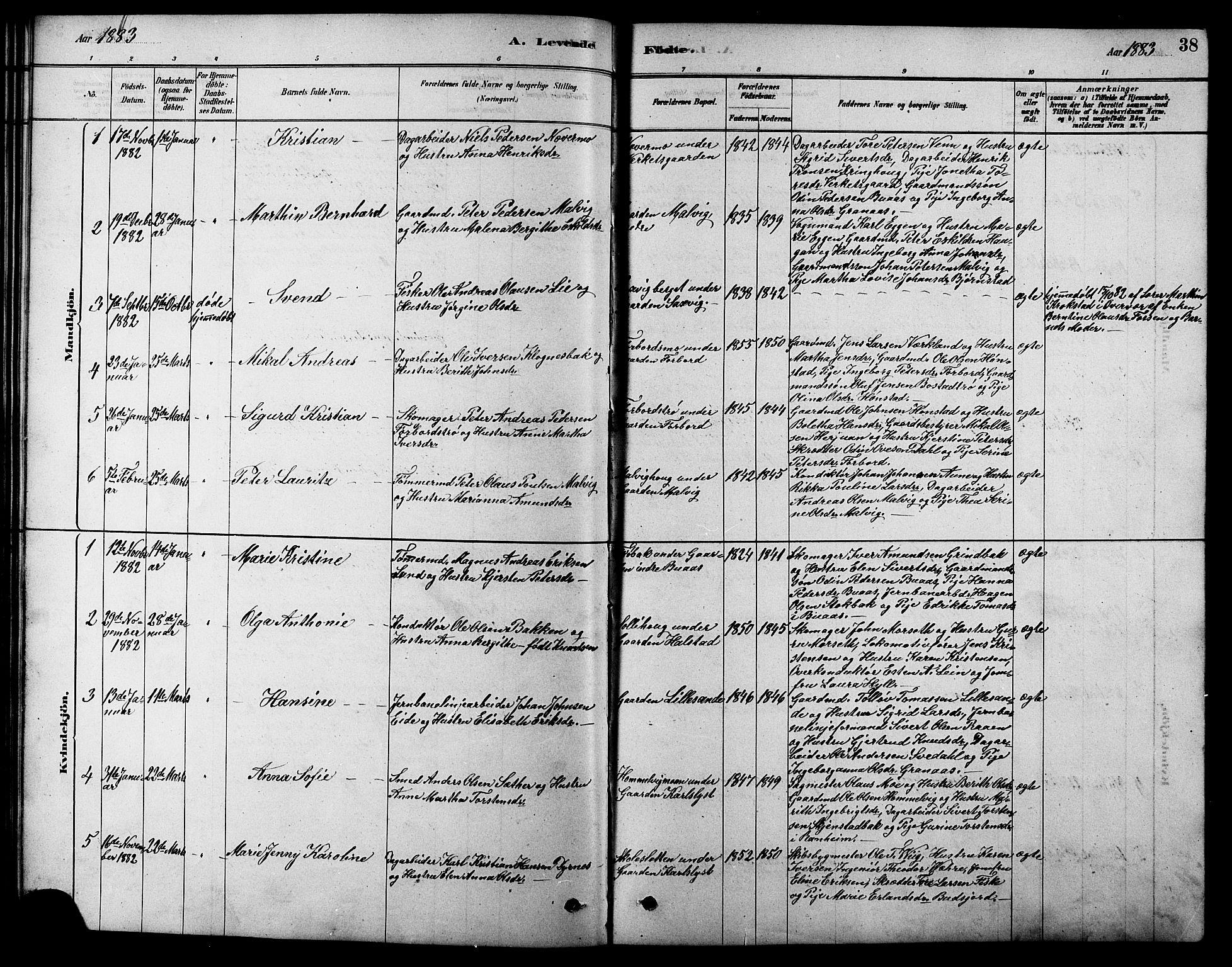 SAT, Ministerialprotokoller, klokkerbøker og fødselsregistre - Sør-Trøndelag, 616/L0423: Klokkerbok nr. 616C06, 1878-1903, s. 38