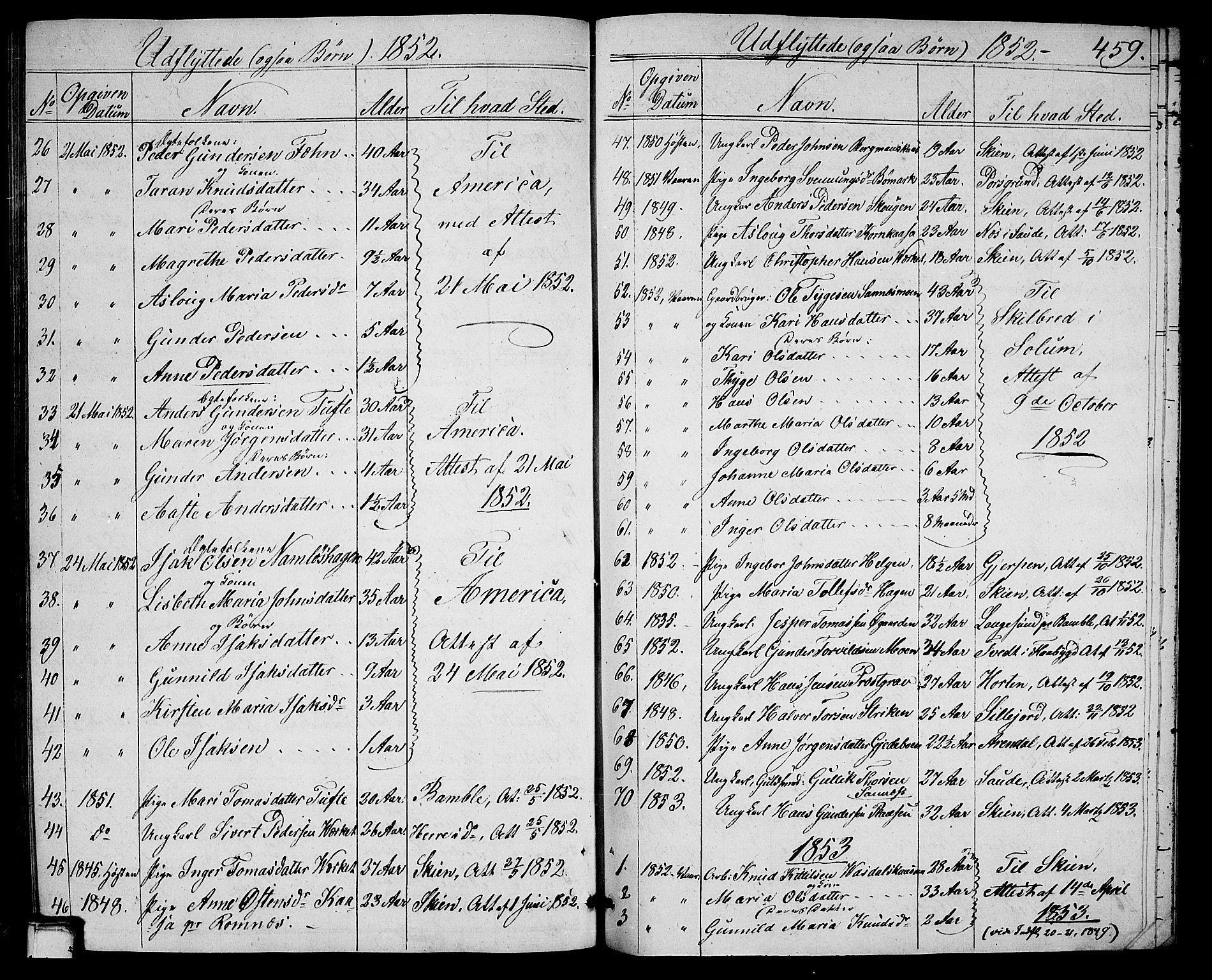 SAKO, Holla kirkebøker, G/Ga/L0003: Klokkerbok nr. I 3, 1849-1866, s. 459