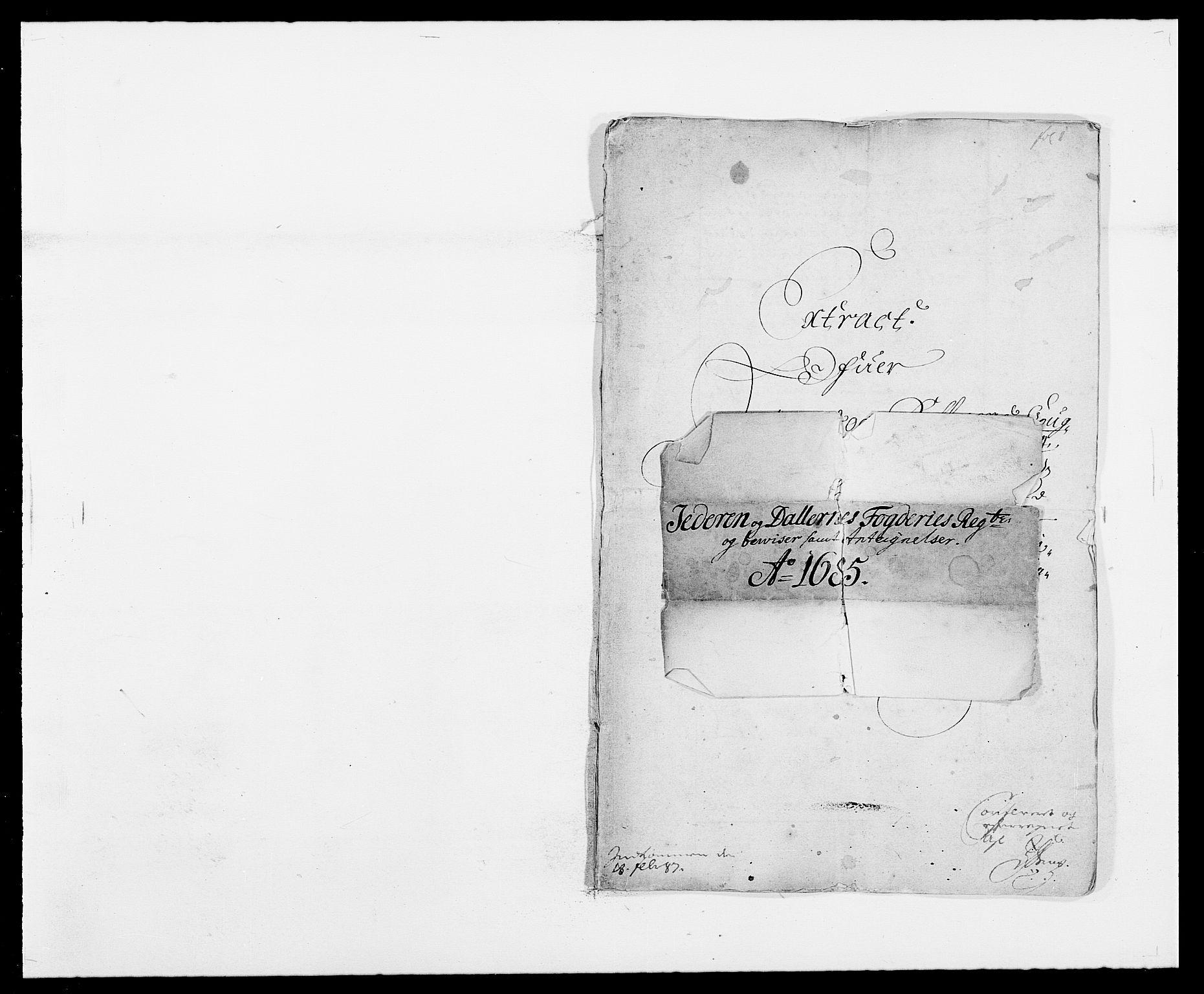 RA, Rentekammeret inntil 1814, Reviderte regnskaper, Fogderegnskap, R46/L2725: Fogderegnskap Jæren og Dalane, 1685, s. 1
