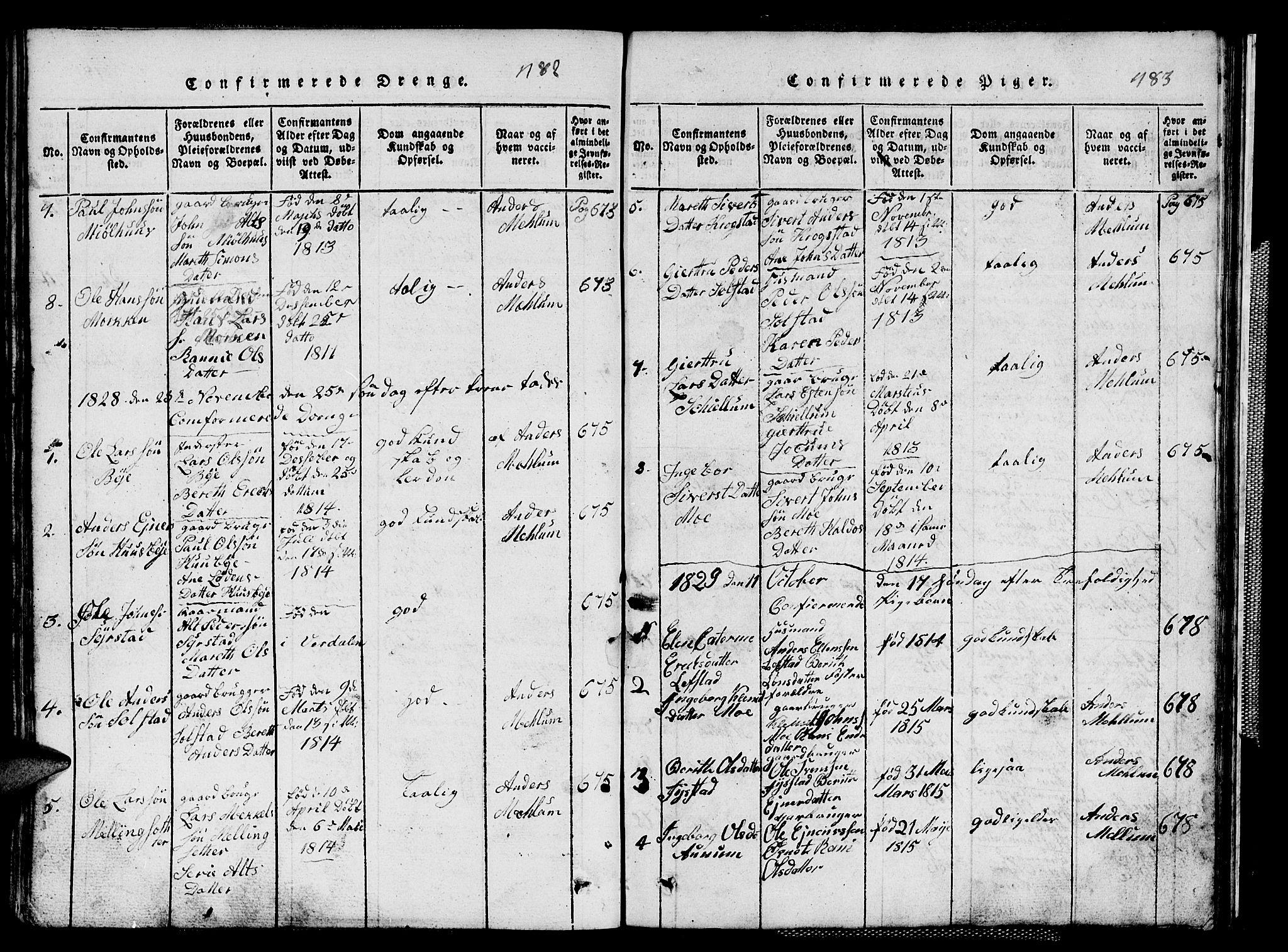 SAT, Ministerialprotokoller, klokkerbøker og fødselsregistre - Sør-Trøndelag, 667/L0796: Klokkerbok nr. 667C01, 1817-1836, s. 482-483