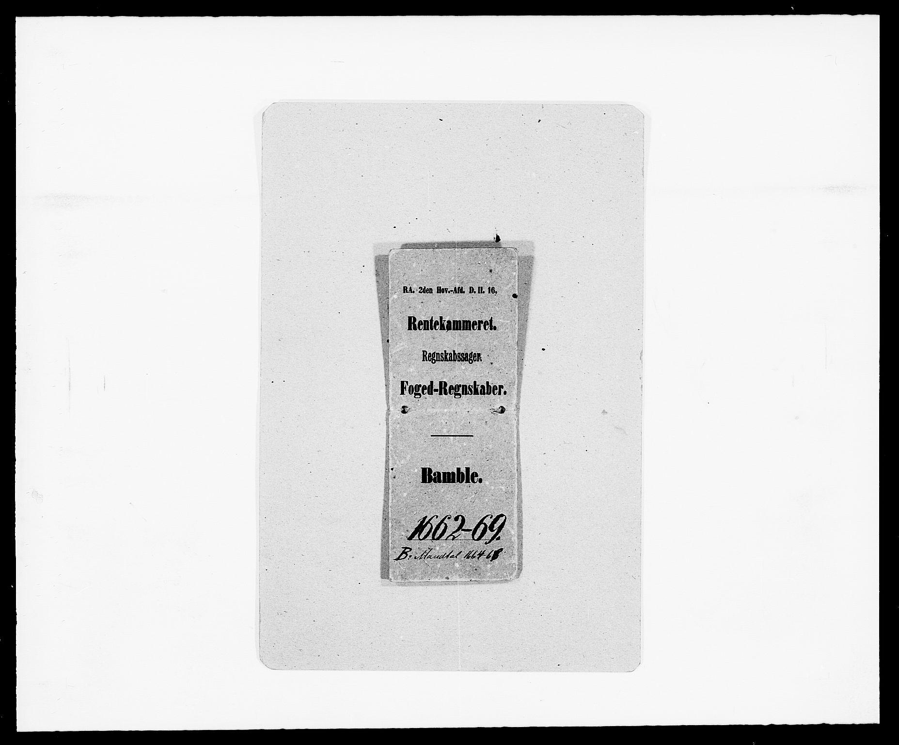 RA, Rentekammeret inntil 1814, Reviderte regnskaper, Fogderegnskap, R34/L2038: Fogderegnskap Bamble, 1662-1669, s. 4