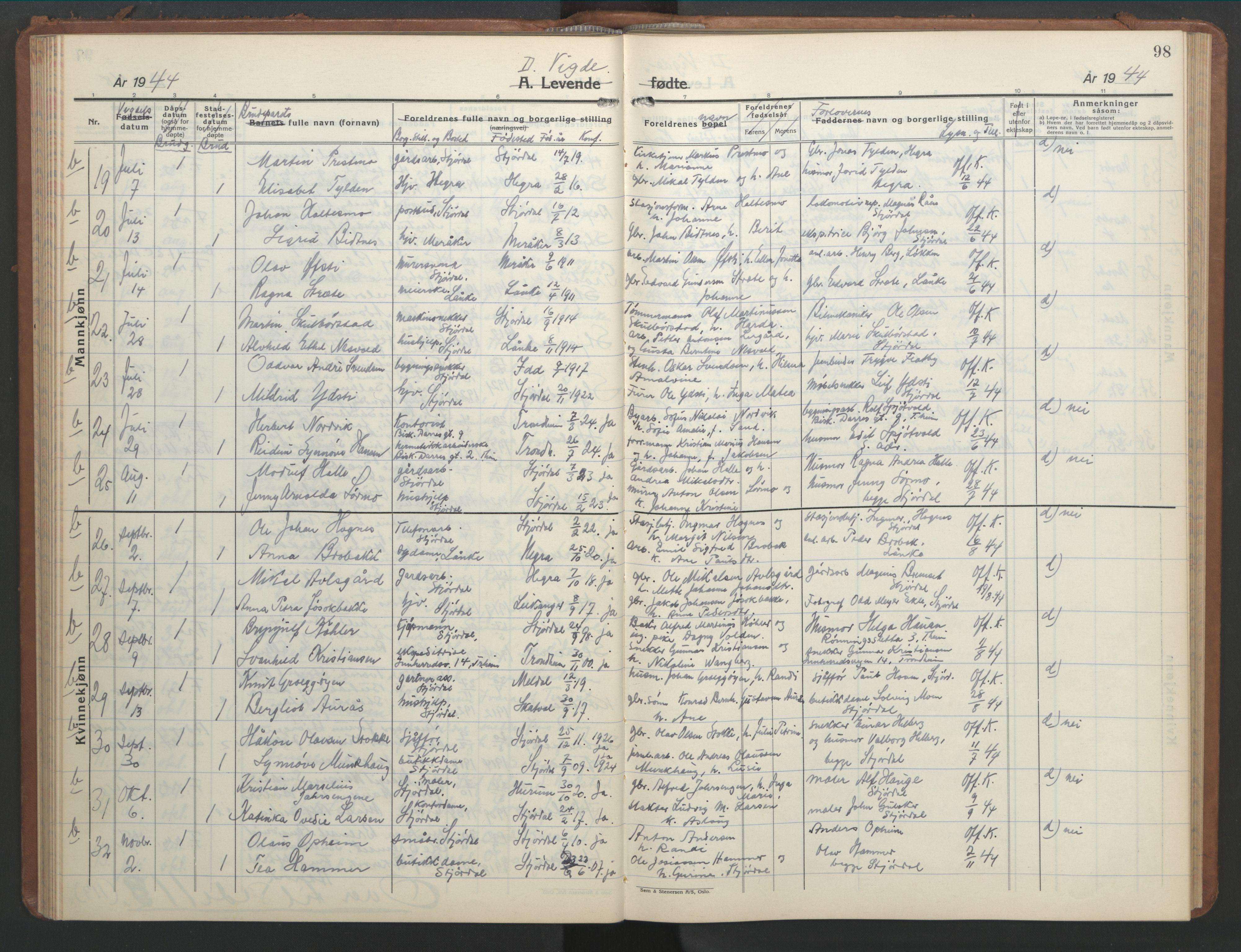 SAT, Ministerialprotokoller, klokkerbøker og fødselsregistre - Nord-Trøndelag, 709/L0089: Klokkerbok nr. 709C03, 1935-1948, s. 98