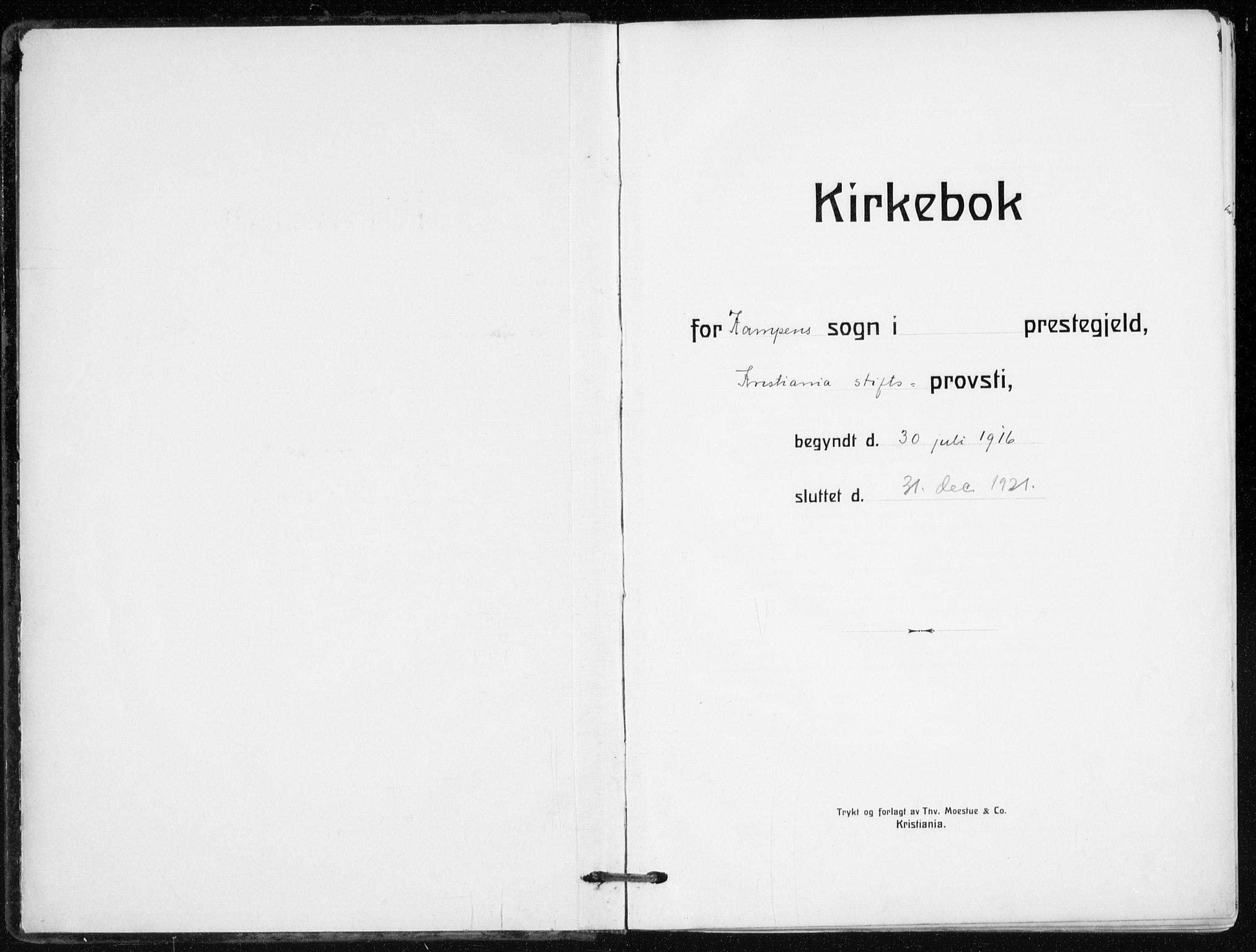 SAO, Kampen prestekontor Kirkebøker, F/Fa/L0012: Ministerialbok nr. I 12, 1916-1921