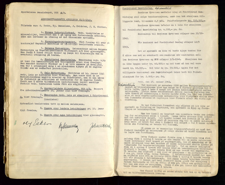 SAST, PA 1514 - Sporveienes Bensindepot, Norsk Oljeraffineri A/S, A/L0002: Forhandlingsprotokoll Arbeidsutvaget, 1932-1946, s. 104