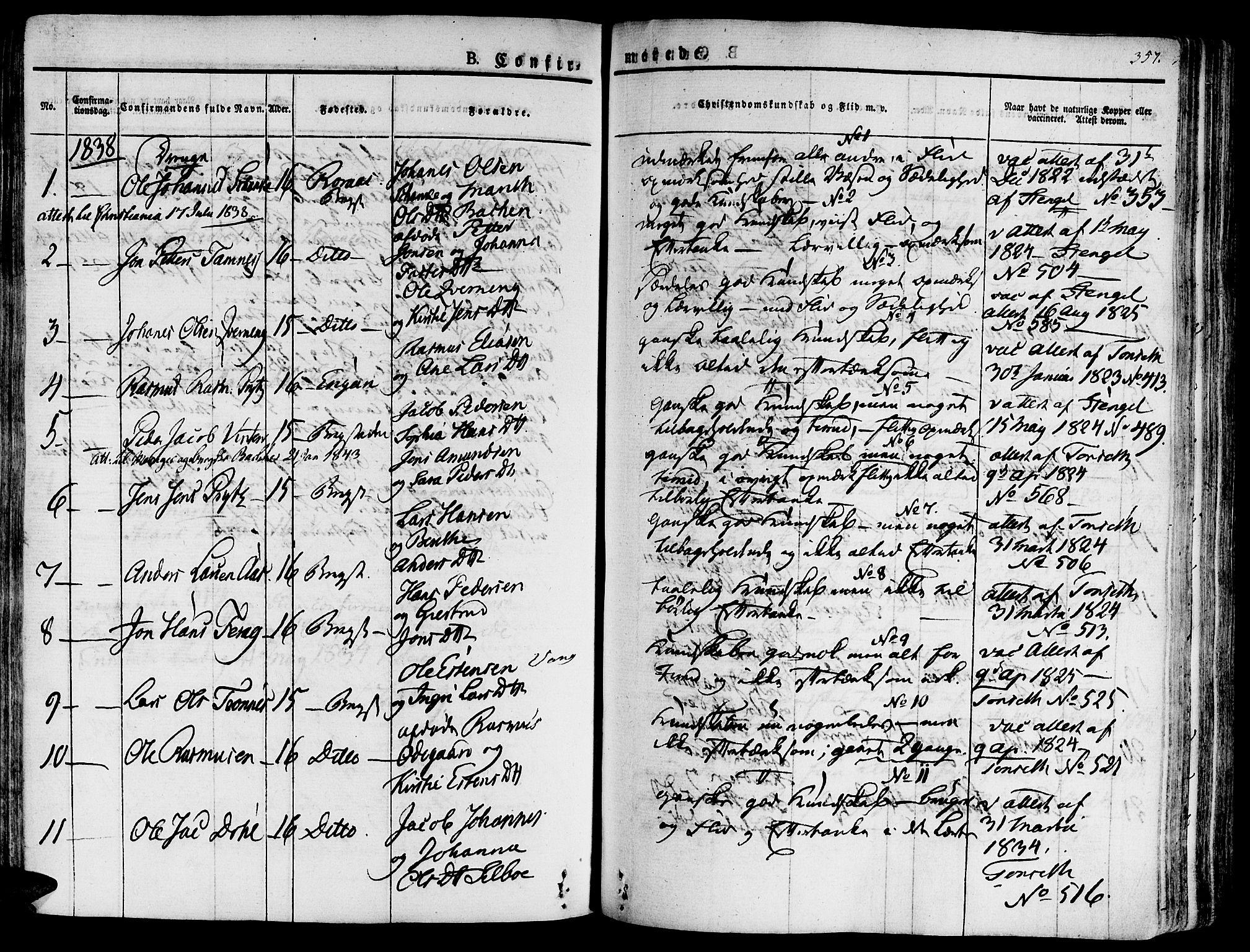 SAT, Ministerialprotokoller, klokkerbøker og fødselsregistre - Sør-Trøndelag, 681/L0930: Ministerialbok nr. 681A08, 1829-1844, s. 357