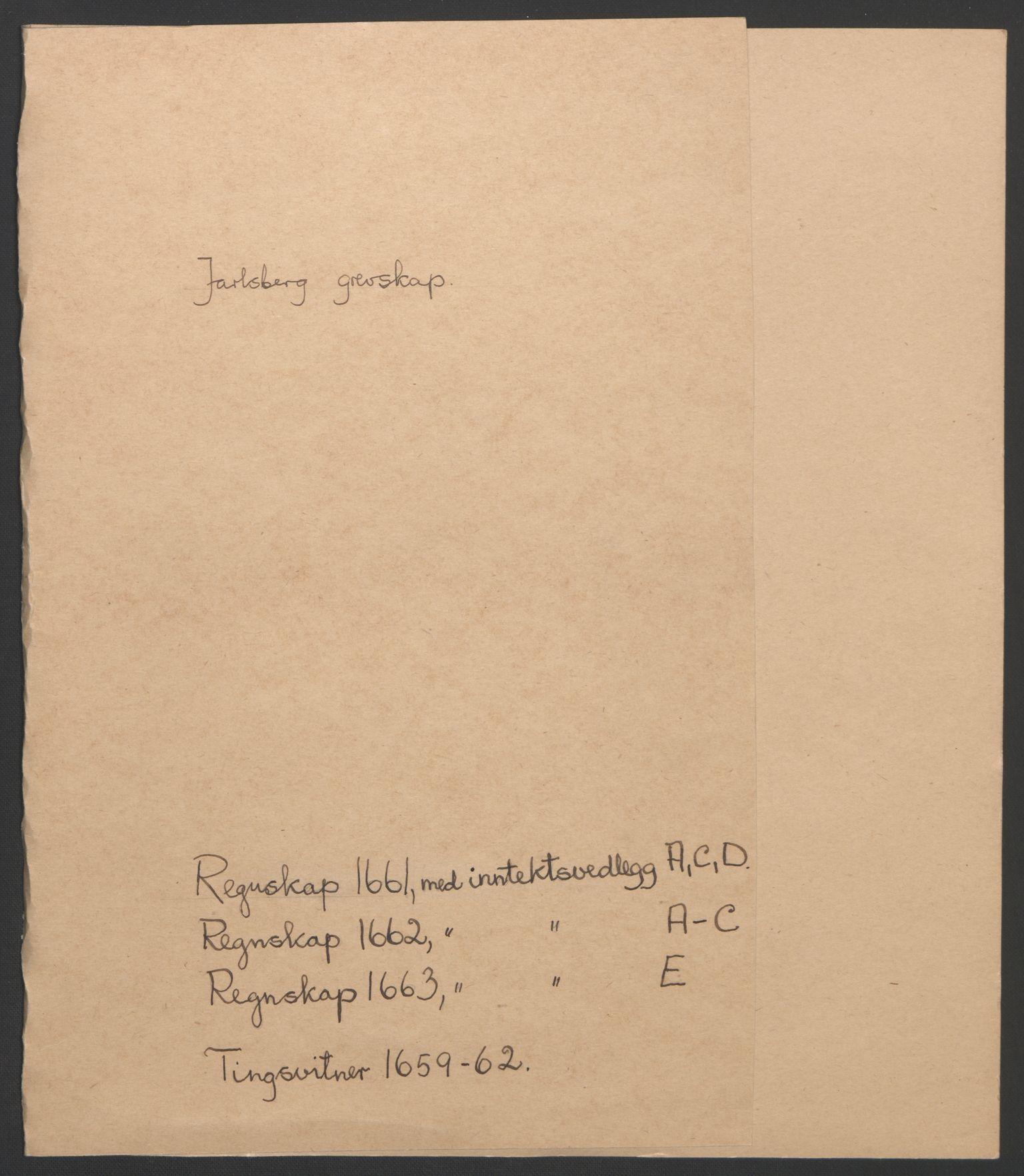 RA, Rentekammeret inntil 1814, Reviderte regnskaper, Fogderegnskap, R32/L1838: Fogderegnskap Jarlsberg grevskap, 1661-1663, s. 2