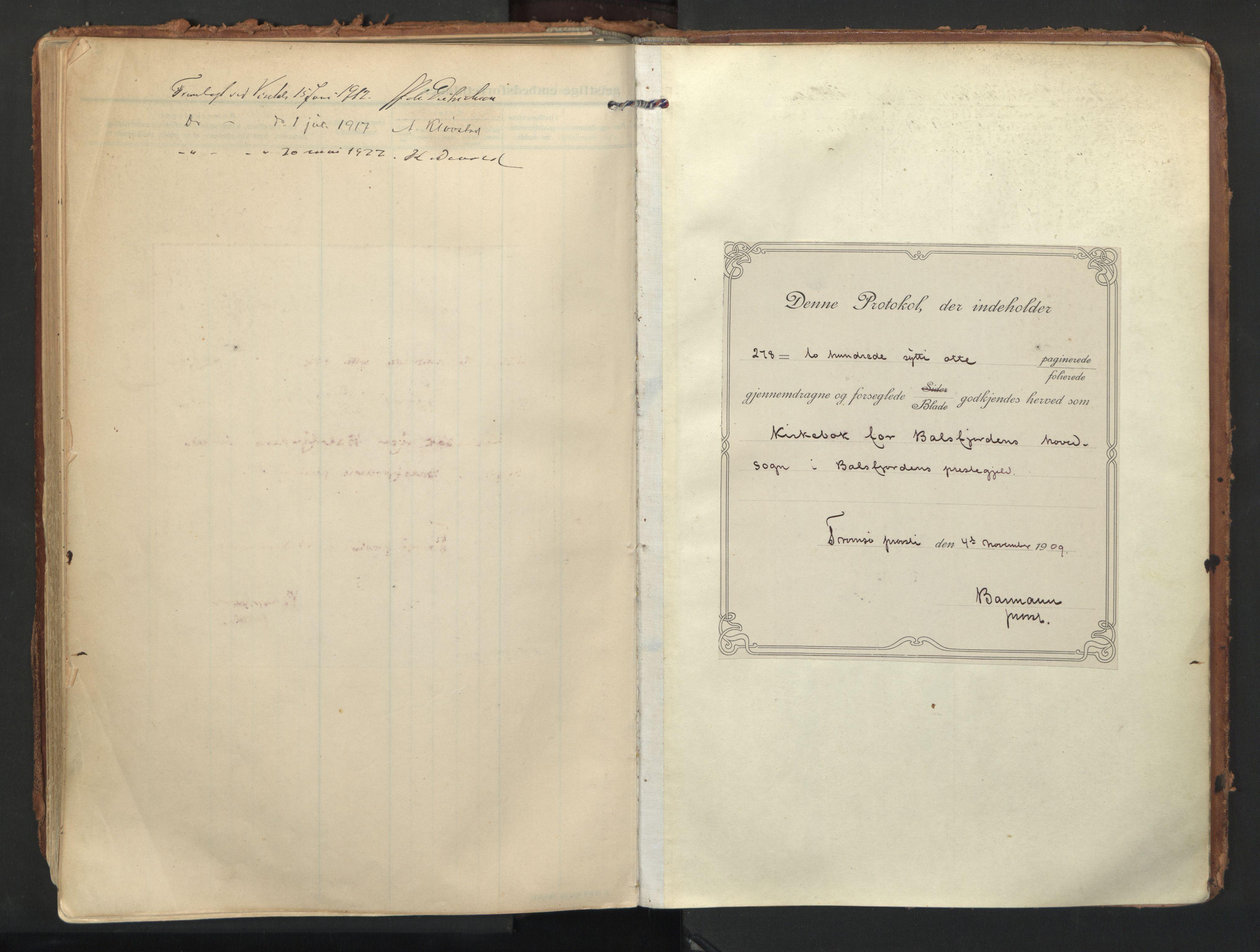 SATØ, Balsfjord sokneprestembete, Ministerialbok nr. 9, 1909-1921