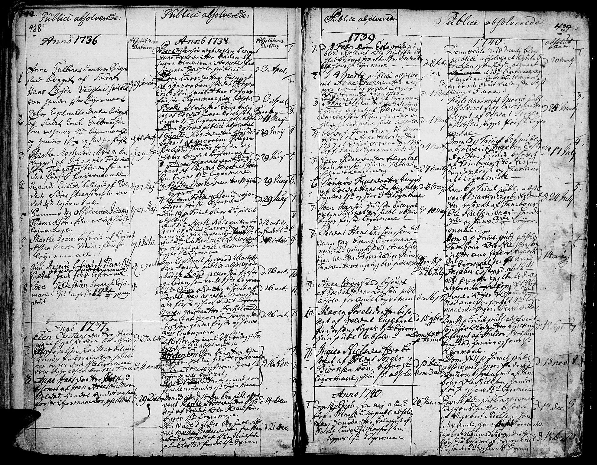 SAH, Ringebu prestekontor, Ministerialbok nr. 2, 1734-1780, s. 438-439