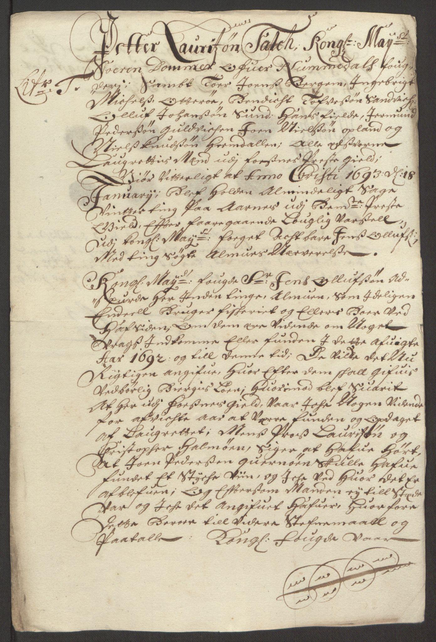 RA, Rentekammeret inntil 1814, Reviderte regnskaper, Fogderegnskap, R64/L4424: Fogderegnskap Namdal, 1692-1695, s. 128
