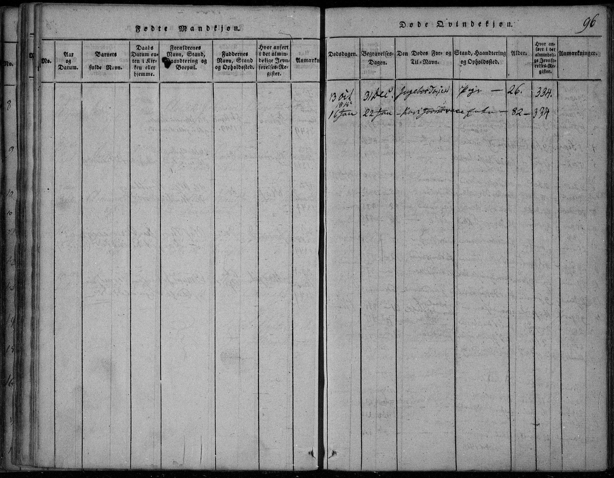 SAKO, Rauland kirkebøker, F/Fa/L0001: Ministerialbok nr. 1, 1814-1859, s. 96