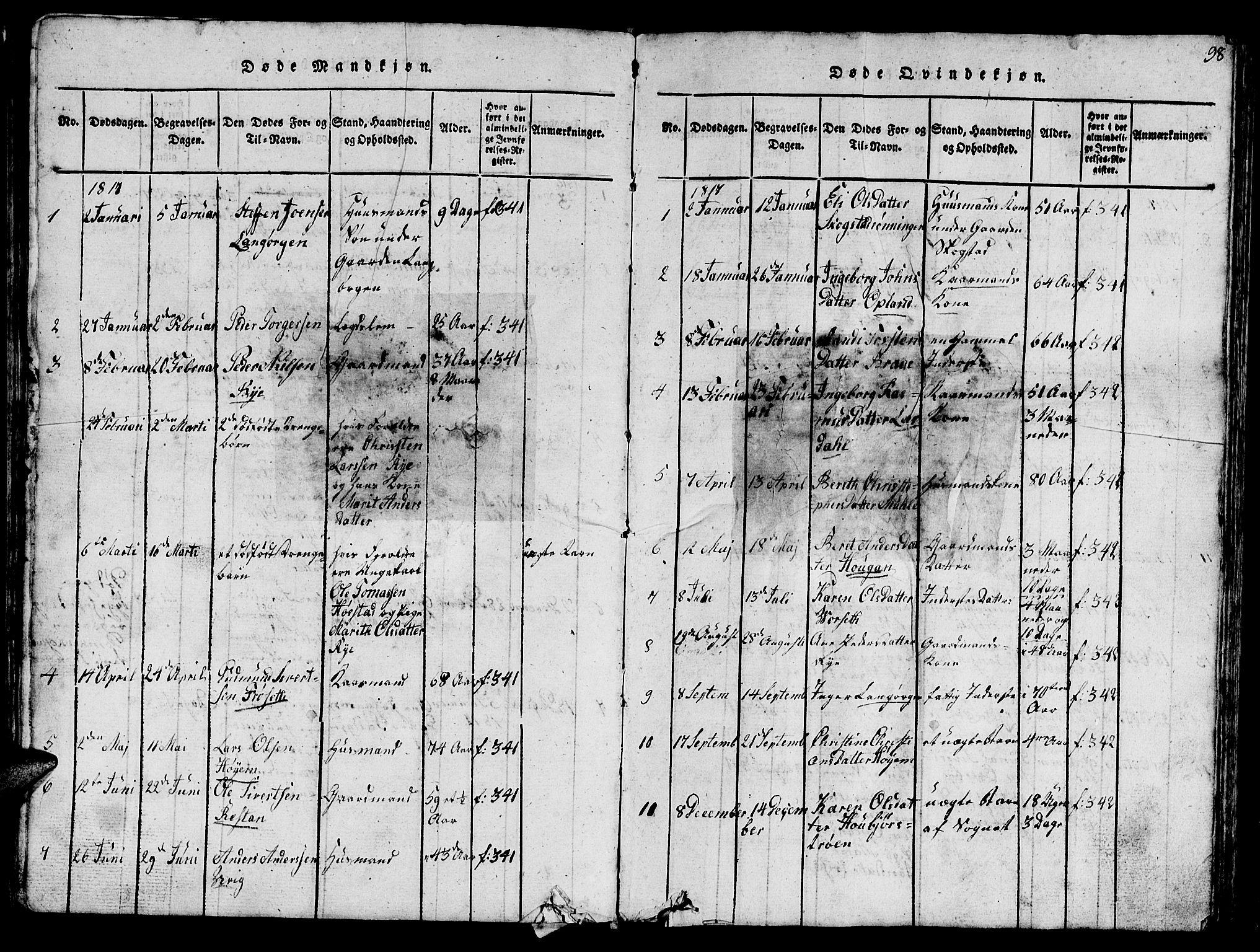 SAT, Ministerialprotokoller, klokkerbøker og fødselsregistre - Sør-Trøndelag, 612/L0385: Klokkerbok nr. 612C01, 1816-1845, s. 98