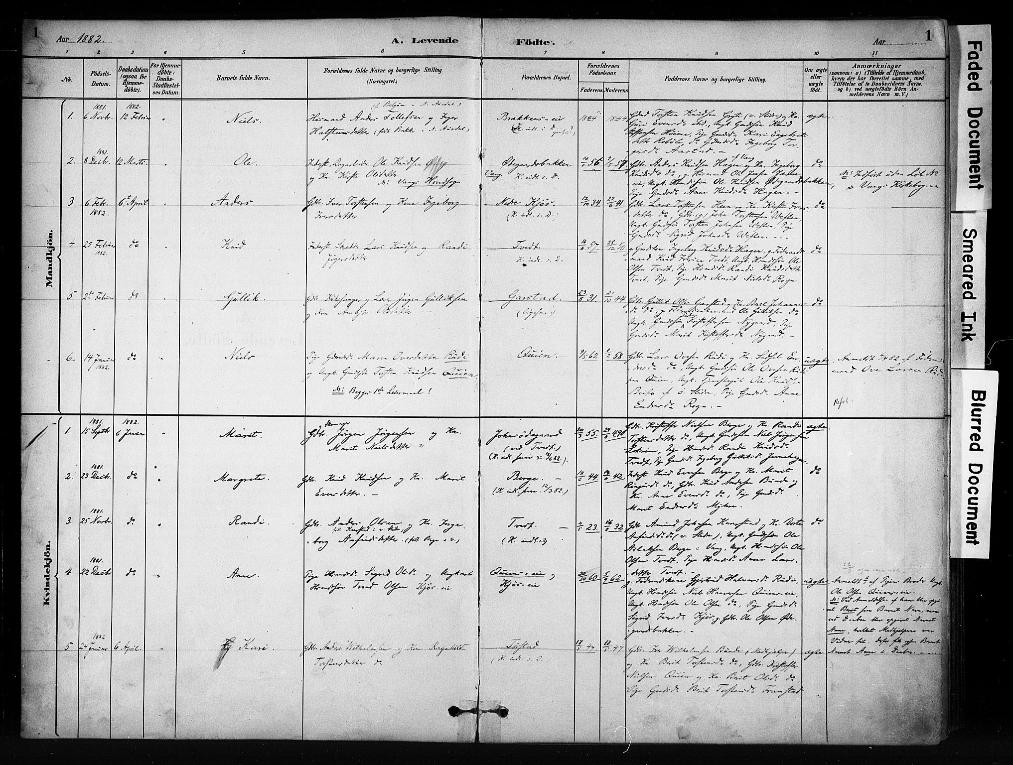 SAH, Vang prestekontor, Valdres, Ministerialbok nr. 9, 1882-1914, s. 1