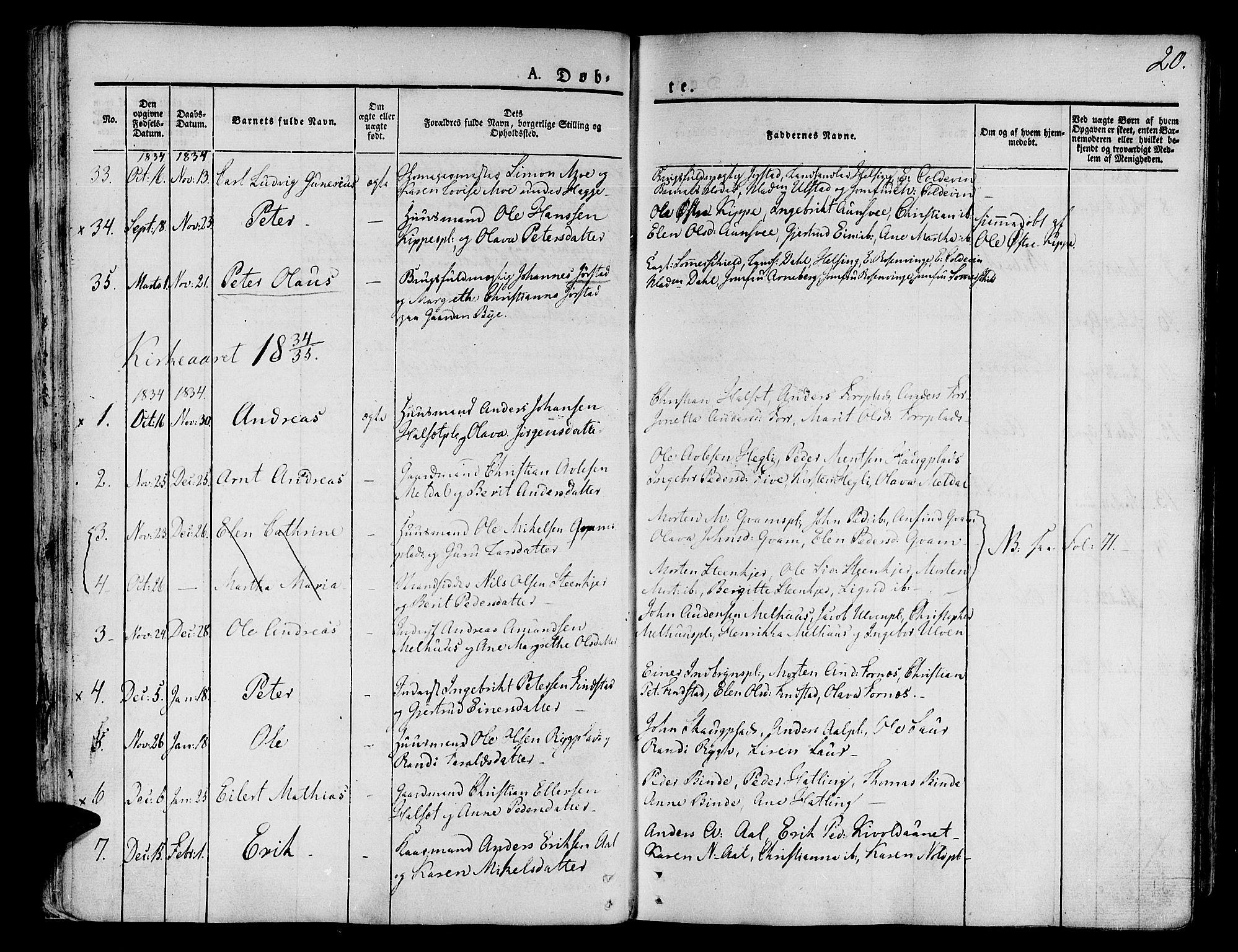 SAT, Ministerialprotokoller, klokkerbøker og fødselsregistre - Nord-Trøndelag, 746/L0445: Ministerialbok nr. 746A04, 1826-1846, s. 20