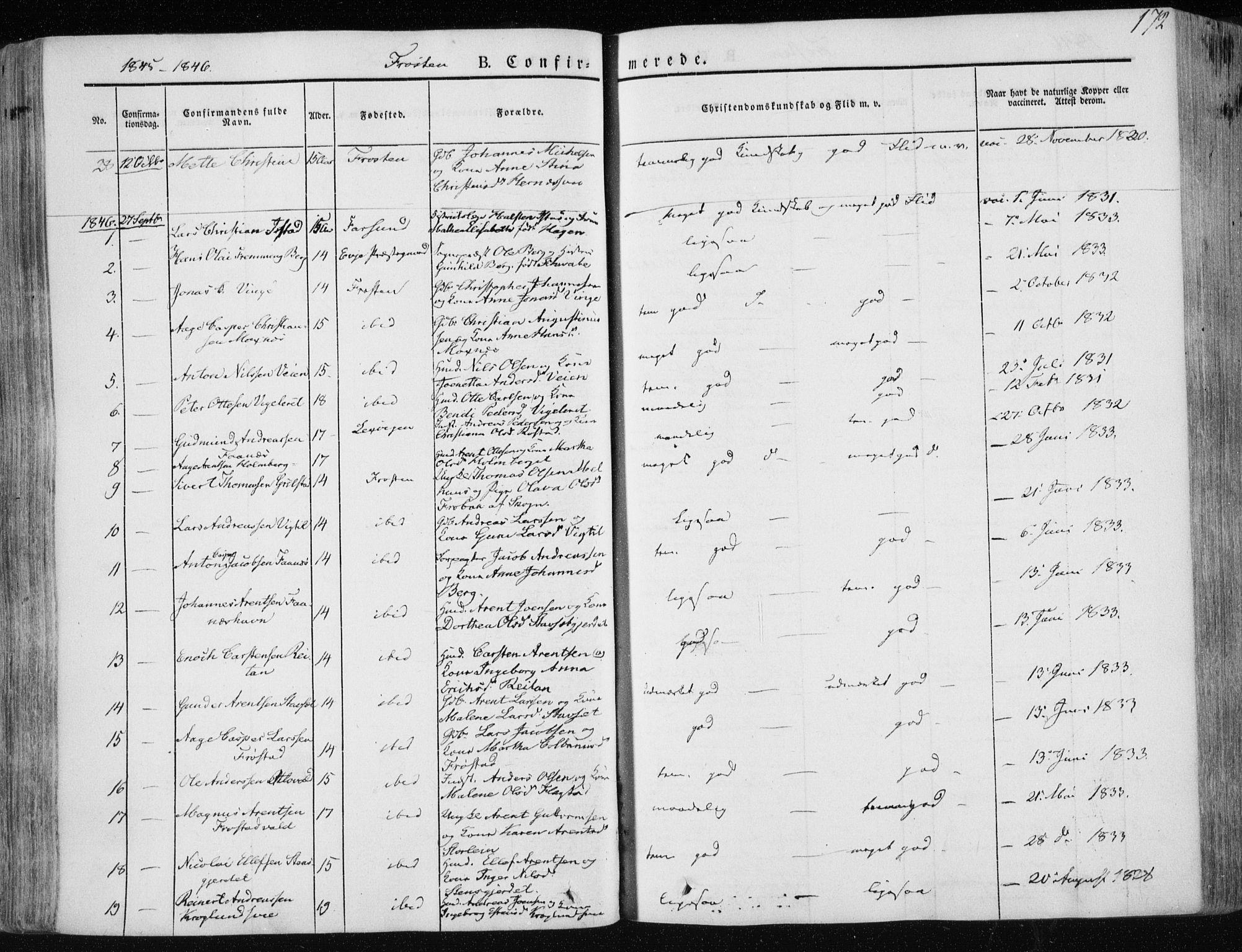 SAT, Ministerialprotokoller, klokkerbøker og fødselsregistre - Nord-Trøndelag, 713/L0115: Ministerialbok nr. 713A06, 1838-1851, s. 172