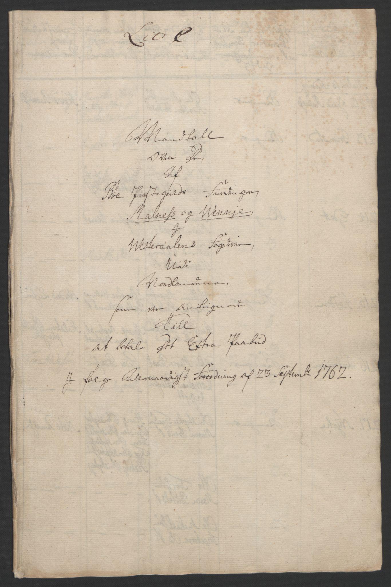 RA, Rentekammeret inntil 1814, Reviderte regnskaper, Fogderegnskap, R67/L4747: Ekstraskatten Vesterålen, Andenes og Lofoten, 1762-1766, s. 74