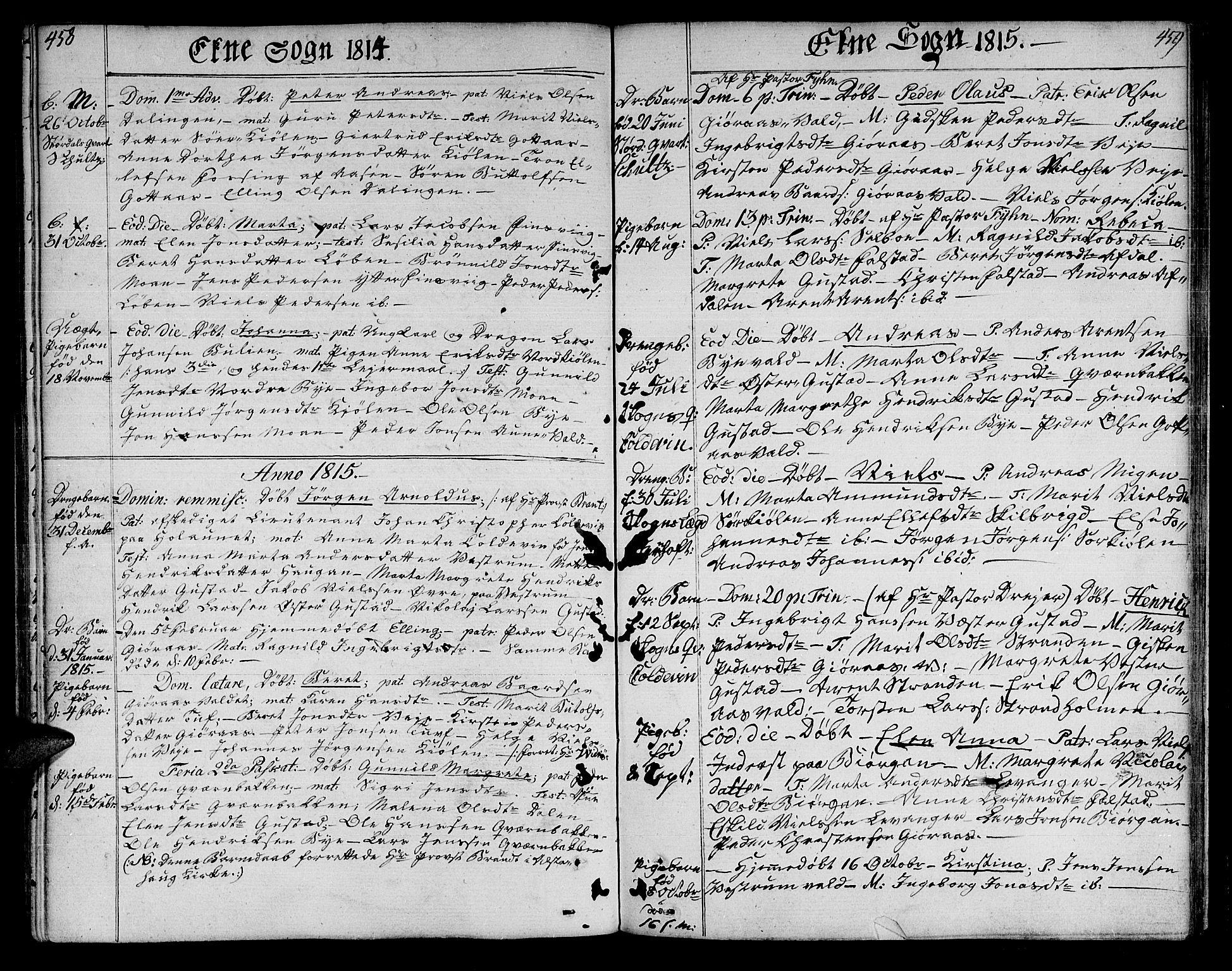 SAT, Ministerialprotokoller, klokkerbøker og fødselsregistre - Nord-Trøndelag, 717/L0145: Ministerialbok nr. 717A03 /2, 1810-1815, s. 458-459
