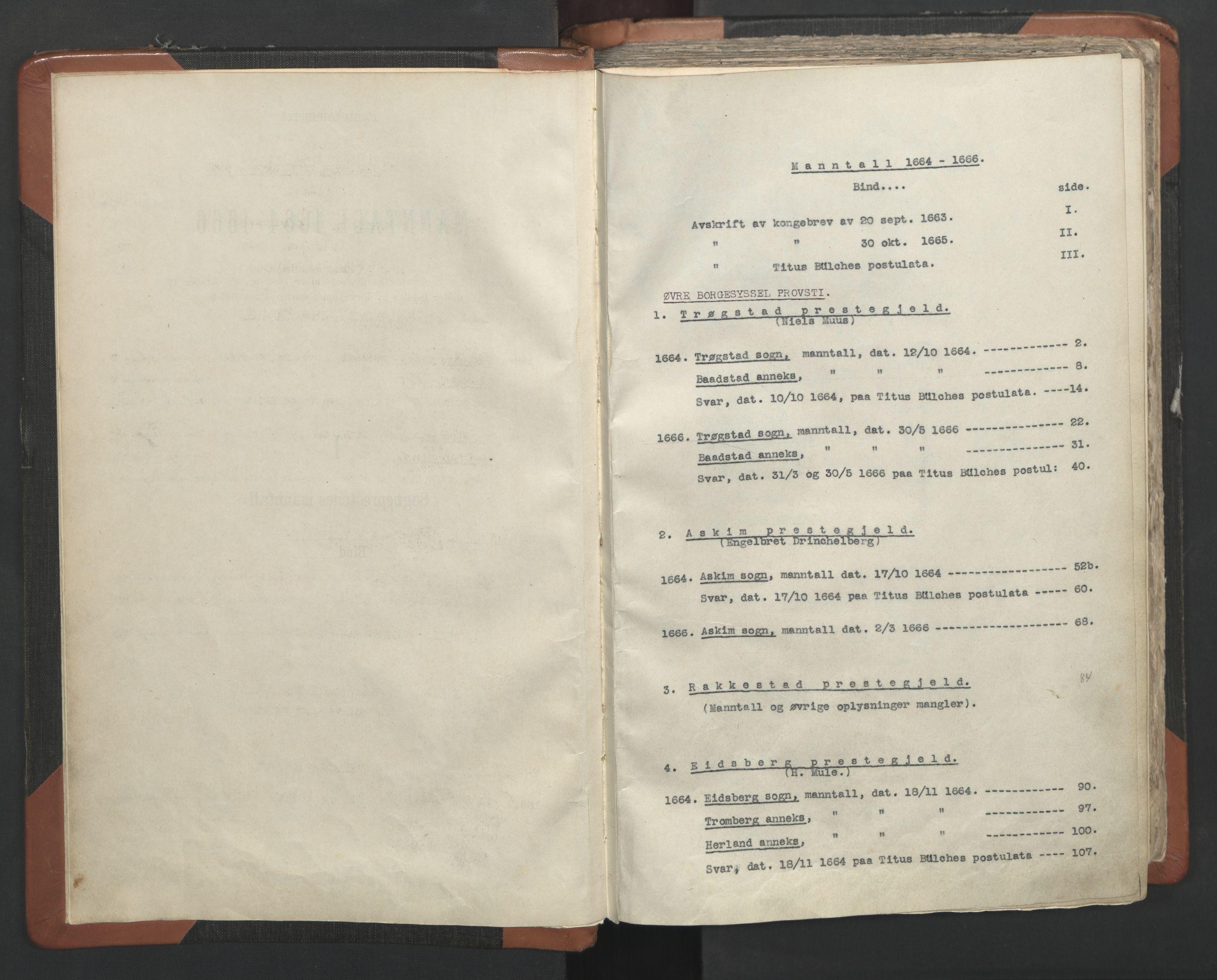 RA, Sogneprestenes manntall 1664-1666, nr. 2: Øvre Borgesyssel prosti, 1664-1666, s. upaginert
