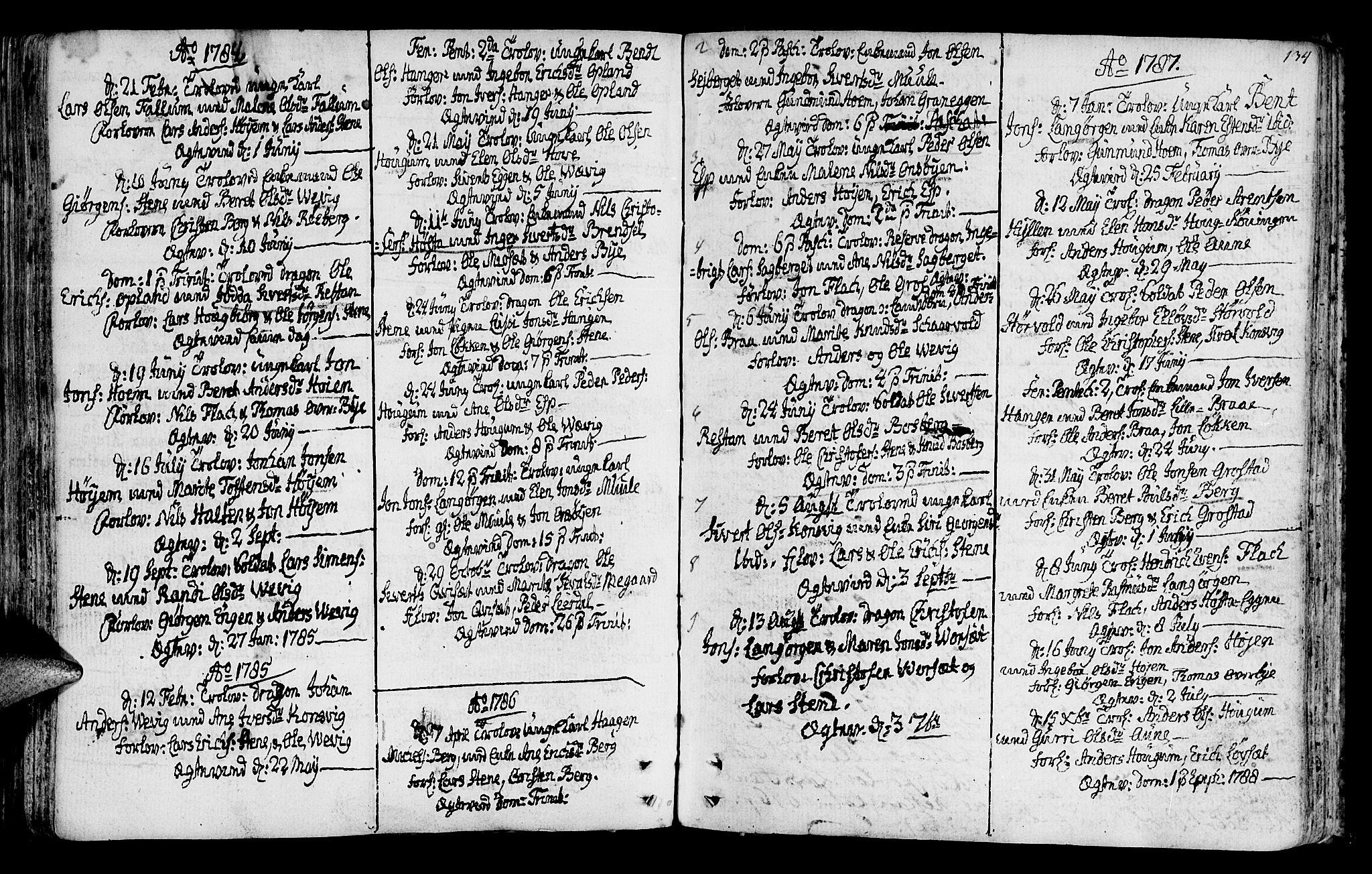 SAT, Ministerialprotokoller, klokkerbøker og fødselsregistre - Sør-Trøndelag, 612/L0370: Ministerialbok nr. 612A04, 1754-1802, s. 134
