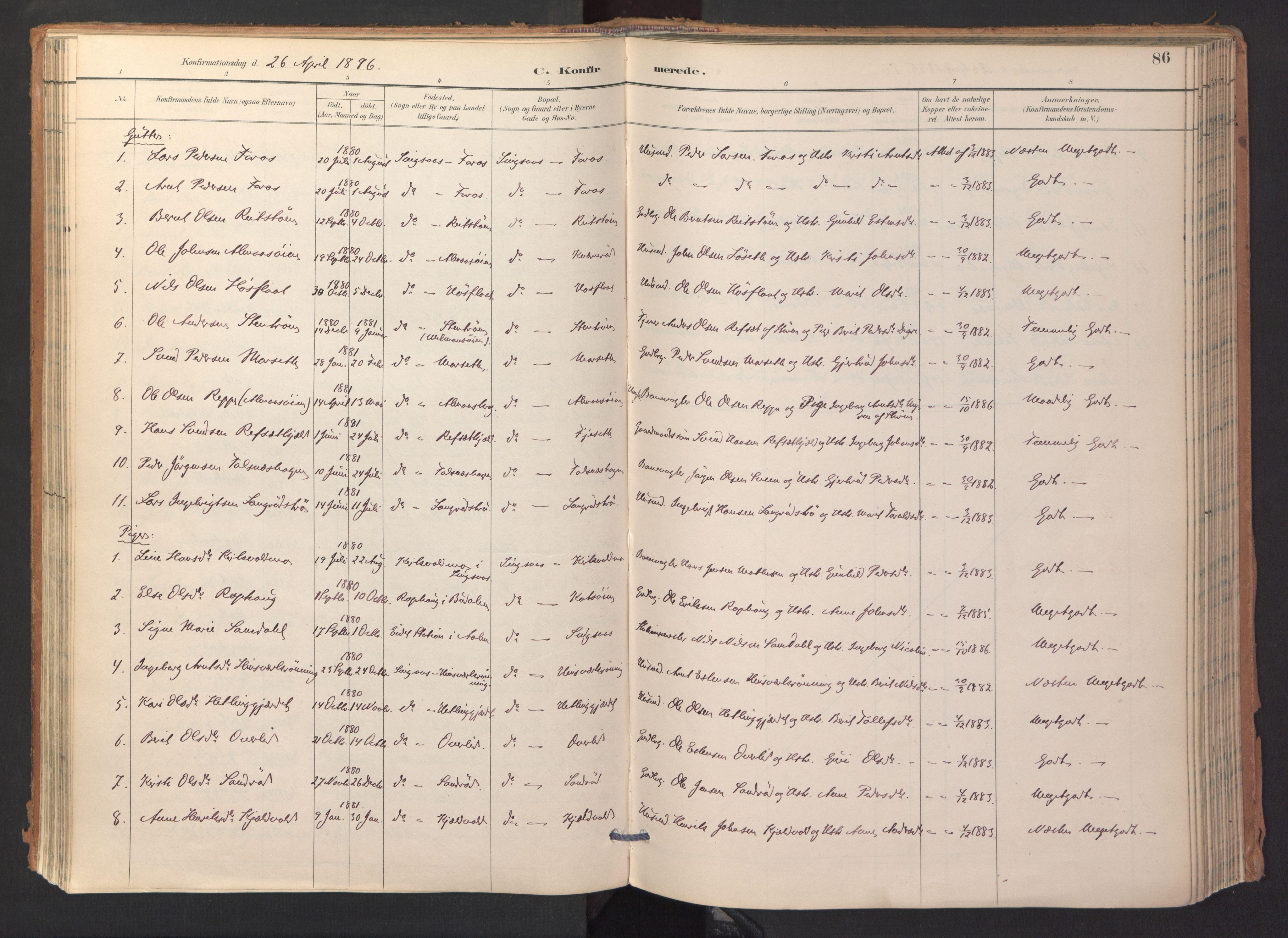 SAT, Ministerialprotokoller, klokkerbøker og fødselsregistre - Sør-Trøndelag, 688/L1025: Ministerialbok nr. 688A02, 1891-1909, s. 86