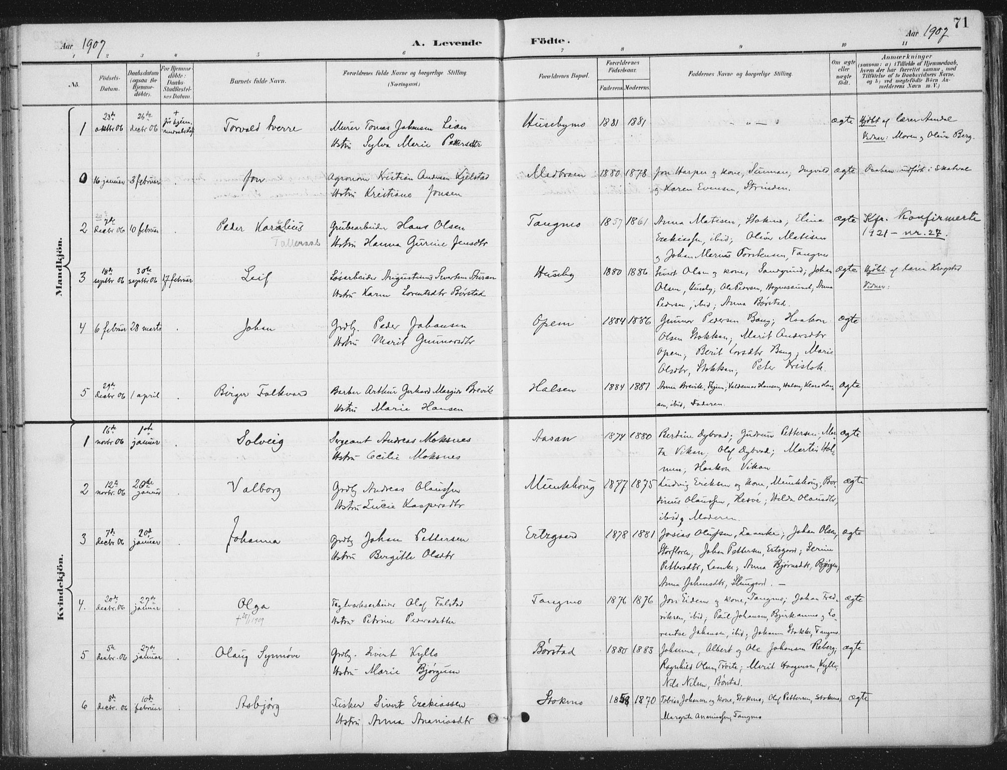 SAT, Ministerialprotokoller, klokkerbøker og fødselsregistre - Nord-Trøndelag, 709/L0082: Ministerialbok nr. 709A22, 1896-1916, s. 71