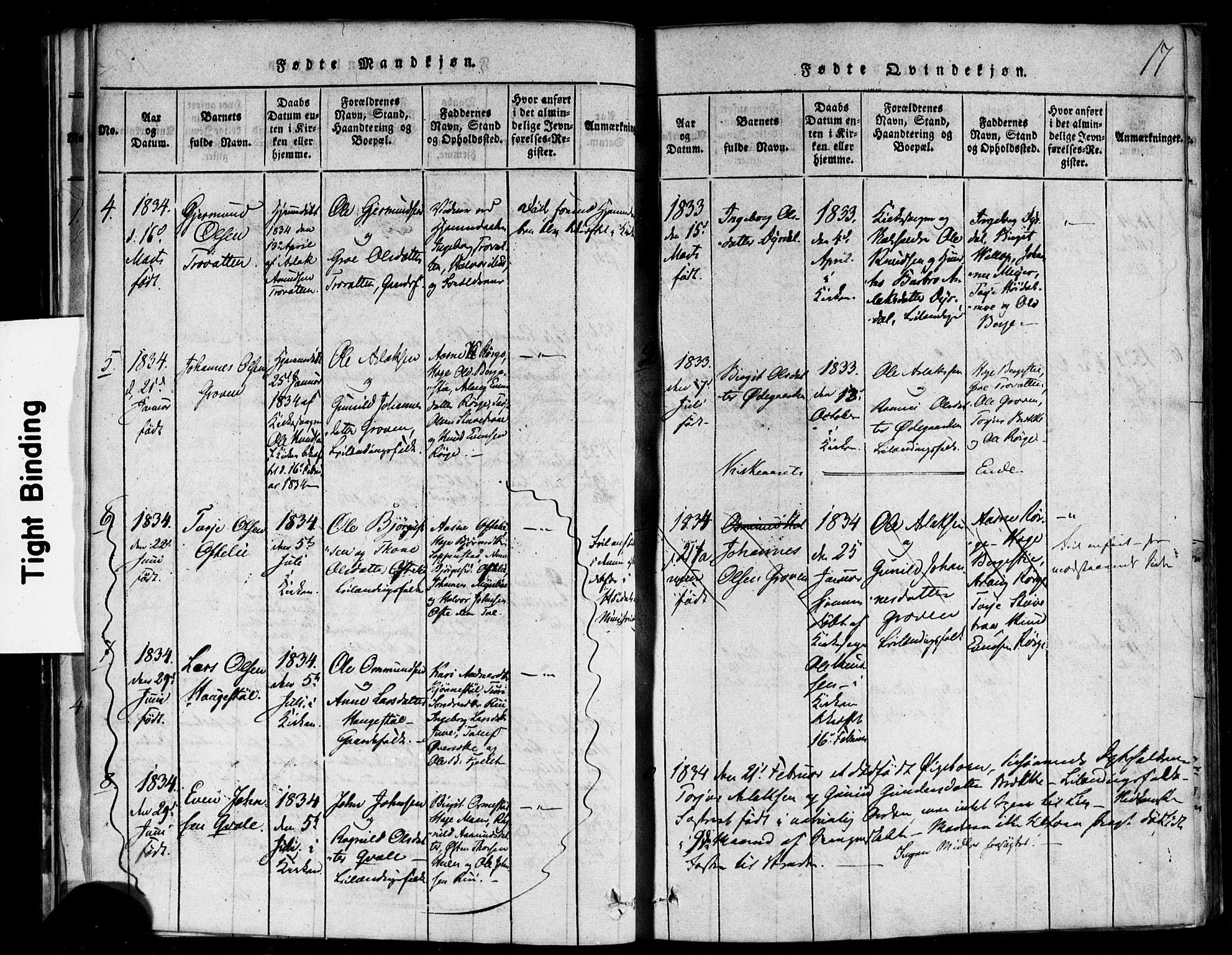 SAKO, Rauland kirkebøker, F/Fa/L0002: Ministerialbok nr. 2, 1815-1860, s. 17