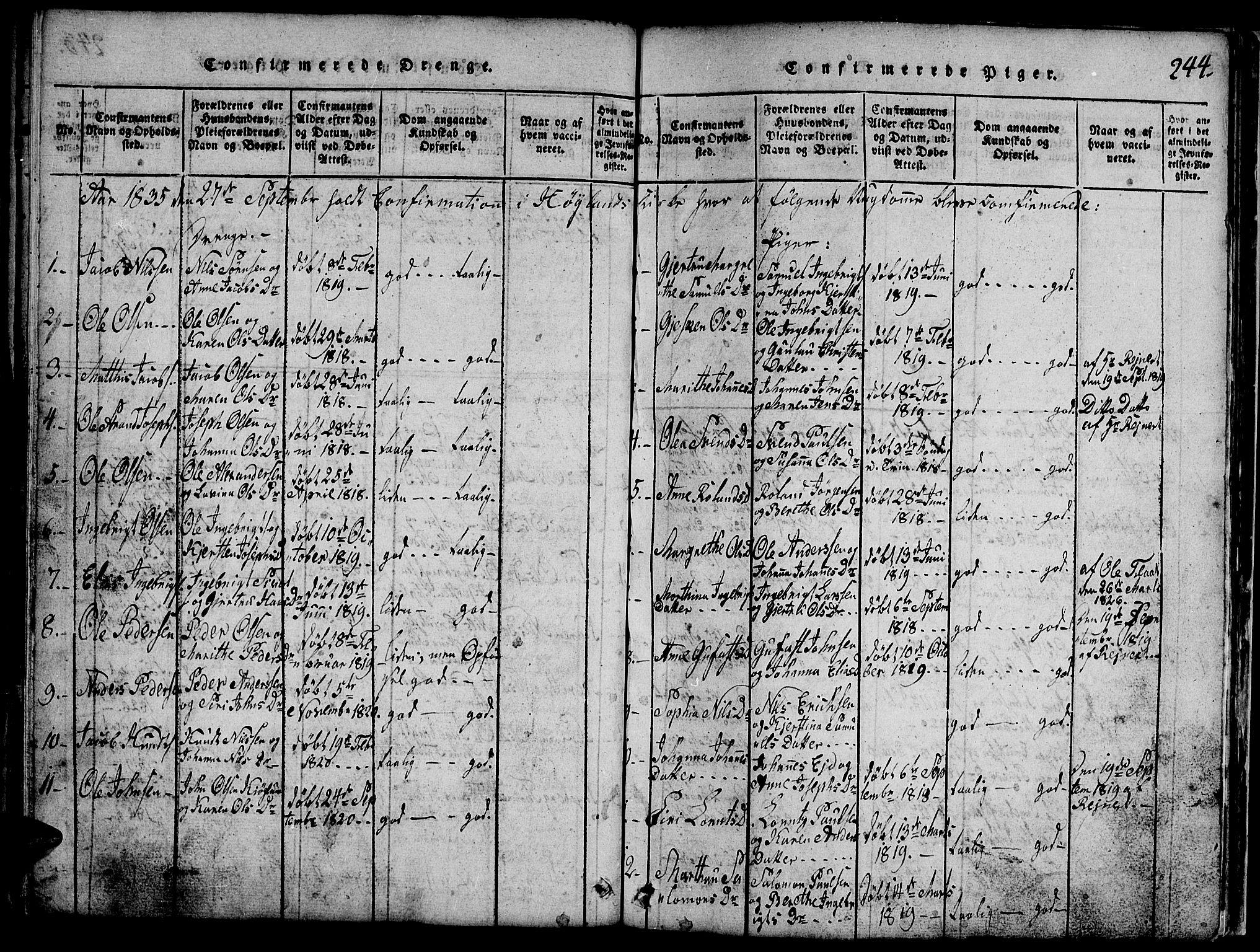 SAT, Ministerialprotokoller, klokkerbøker og fødselsregistre - Nord-Trøndelag, 765/L0562: Klokkerbok nr. 765C01, 1817-1851, s. 244