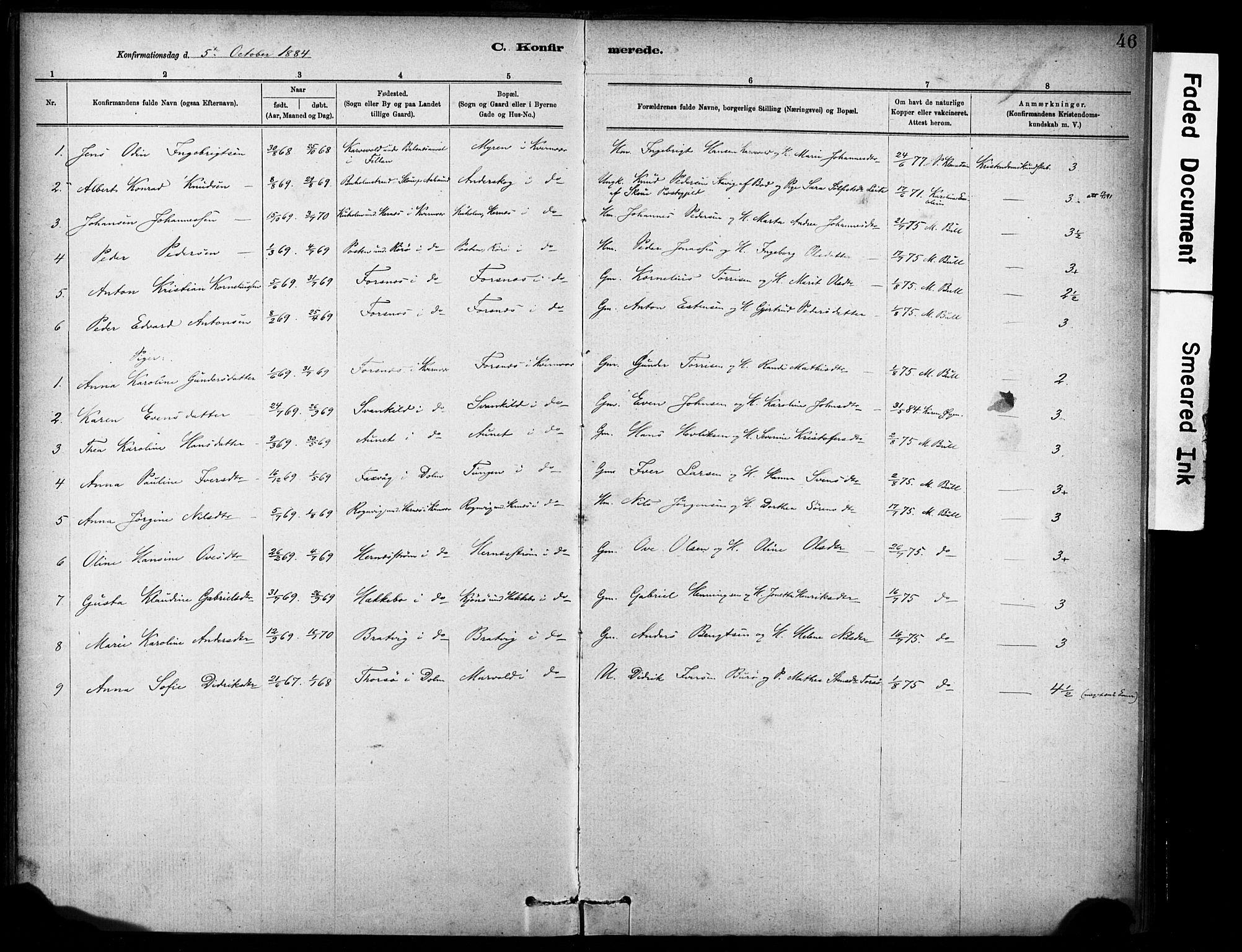 SAT, Ministerialprotokoller, klokkerbøker og fødselsregistre - Sør-Trøndelag, 635/L0551: Ministerialbok nr. 635A01, 1882-1899, s. 46