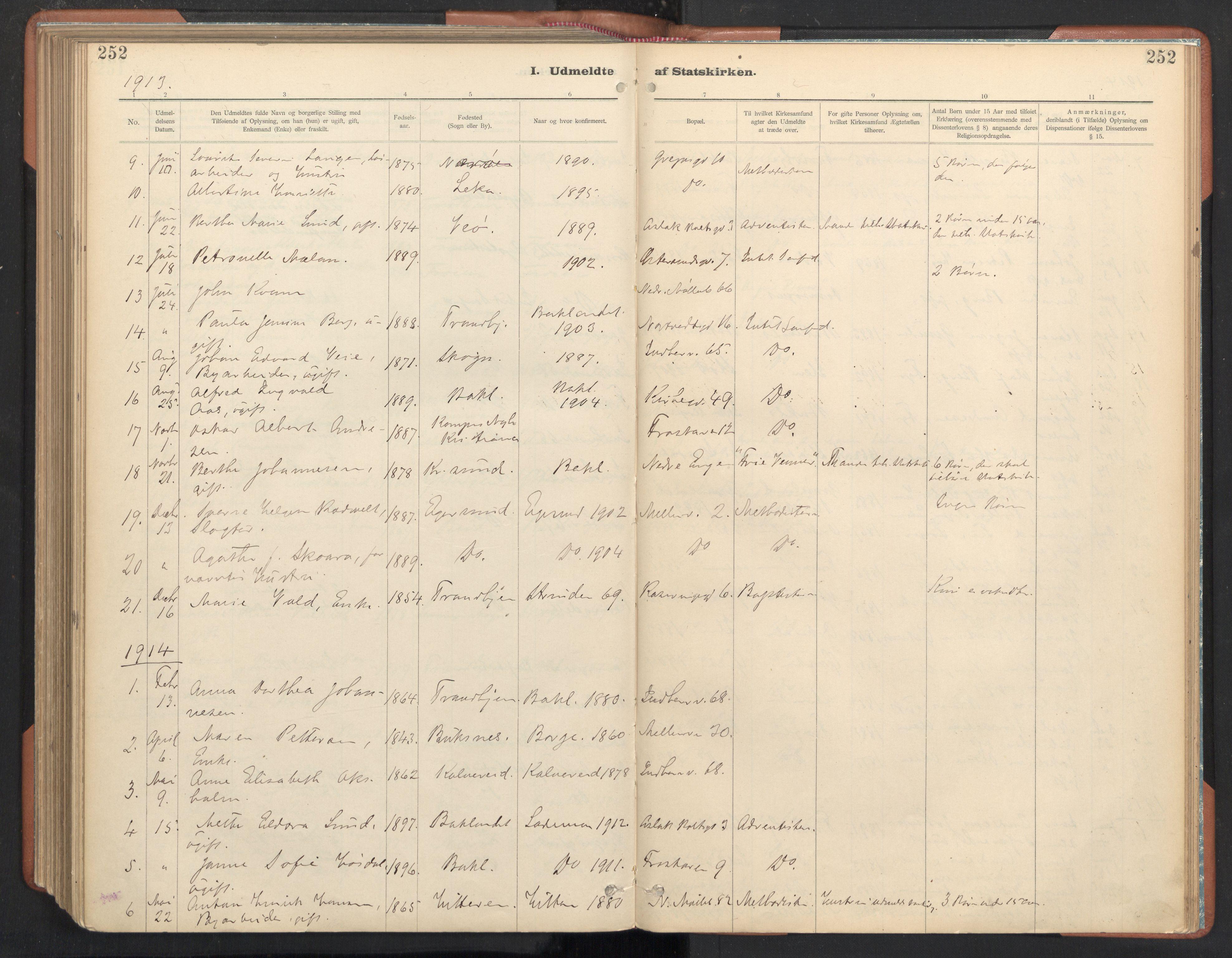 SAT, Ministerialprotokoller, klokkerbøker og fødselsregistre - Sør-Trøndelag, 605/L0244: Ministerialbok nr. 605A06, 1908-1954, s. 252
