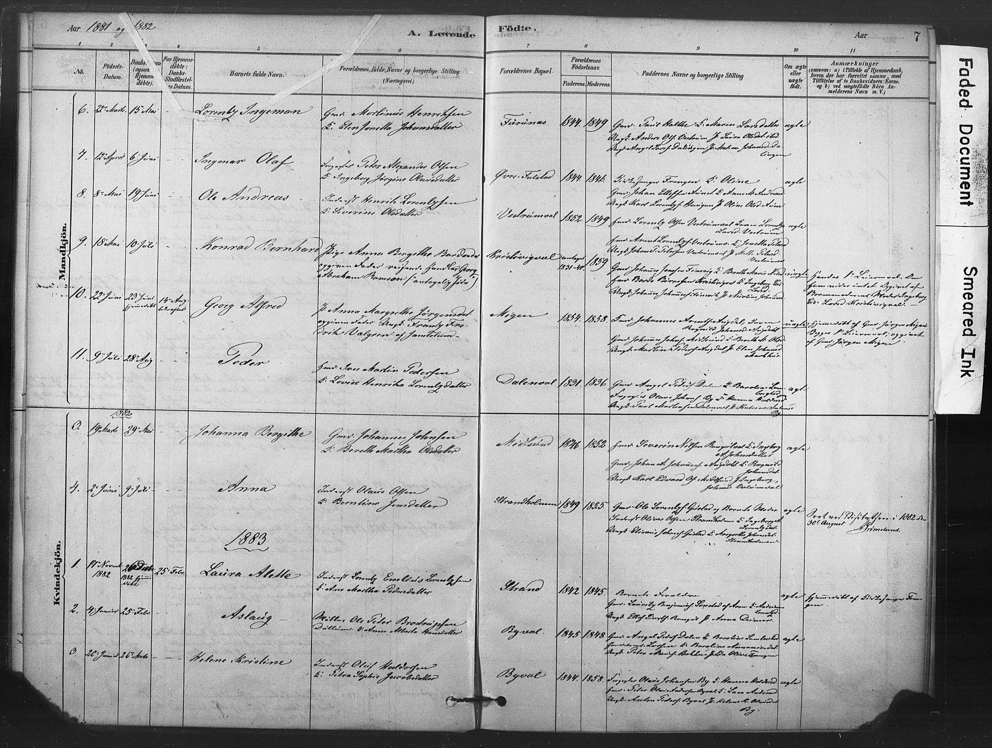 SAT, Ministerialprotokoller, klokkerbøker og fødselsregistre - Nord-Trøndelag, 719/L0178: Ministerialbok nr. 719A01, 1878-1900, s. 7