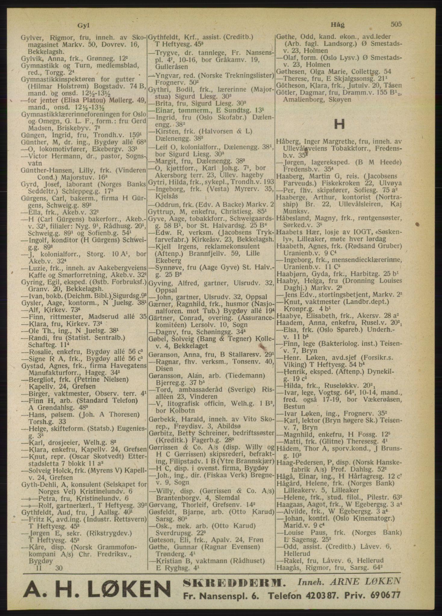 PUBL, Kristiania/Oslo adressebok, 1950, s. 505