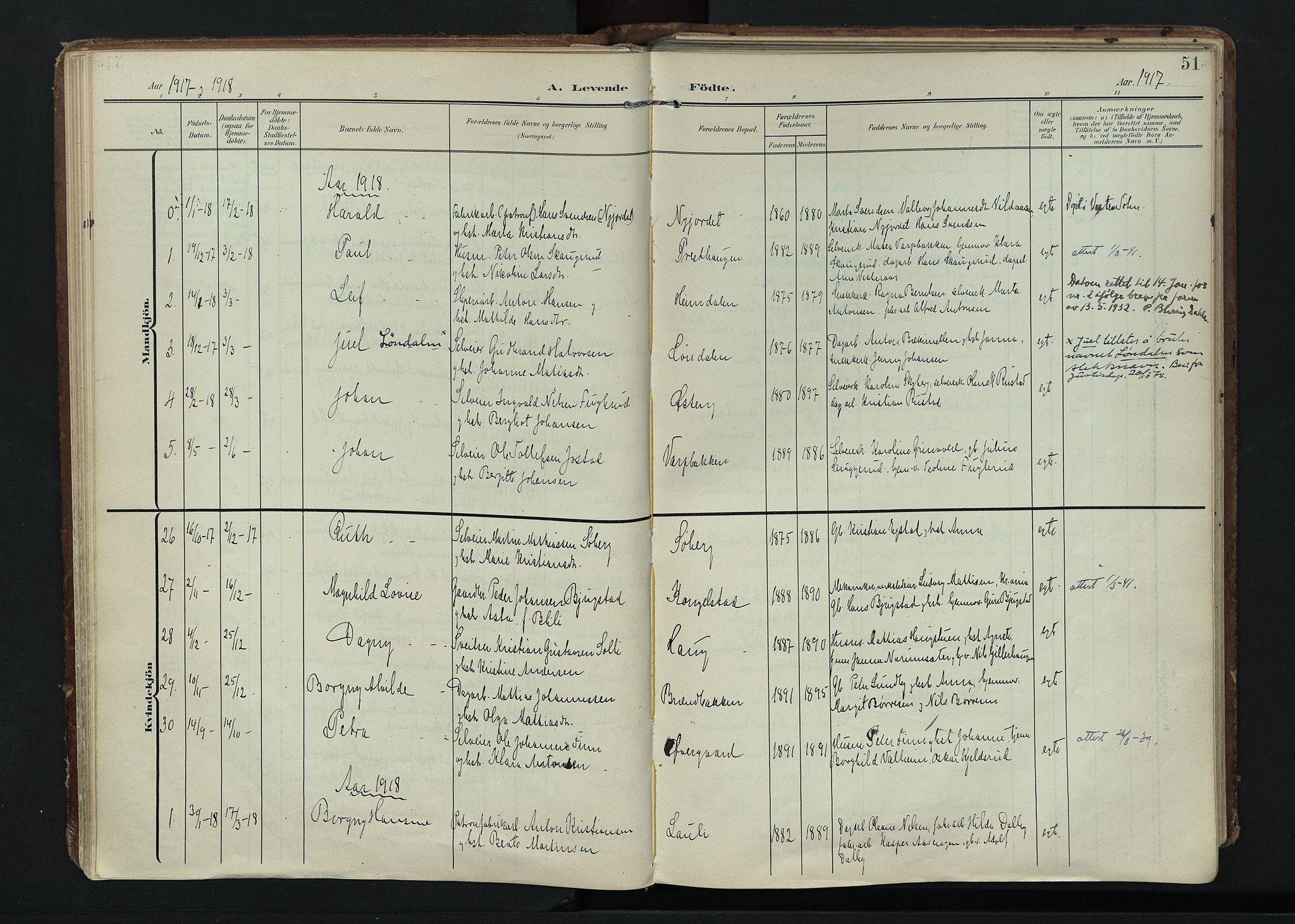 SAH, Vardal prestekontor, H/Ha/Haa/L0020: Ministerialbok nr. 20, 1907-1921, s. 51