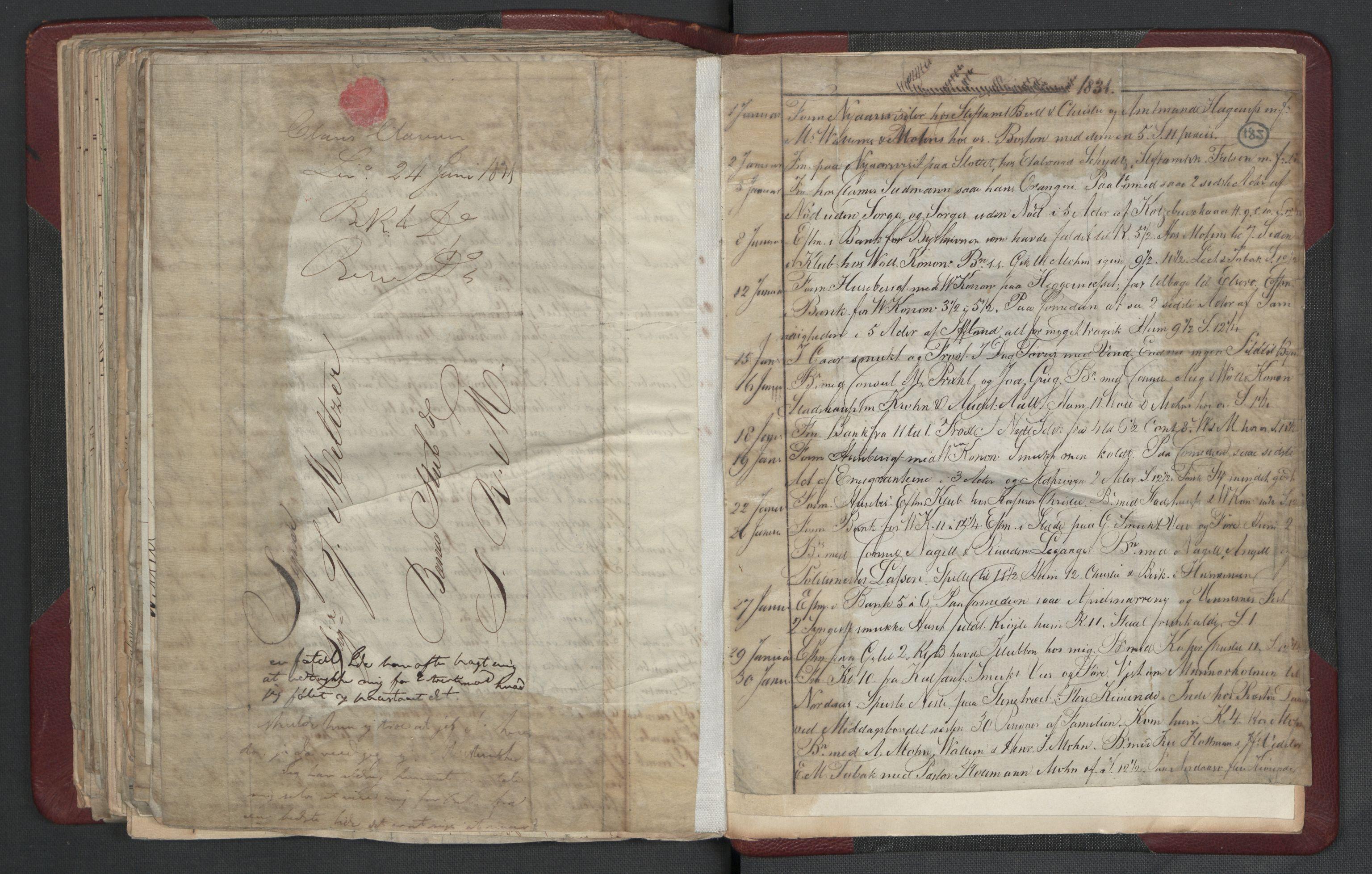 RA, Meltzer, Fredrik, F/L0003: Dagbok, 1821-1831, s. 184b-185a