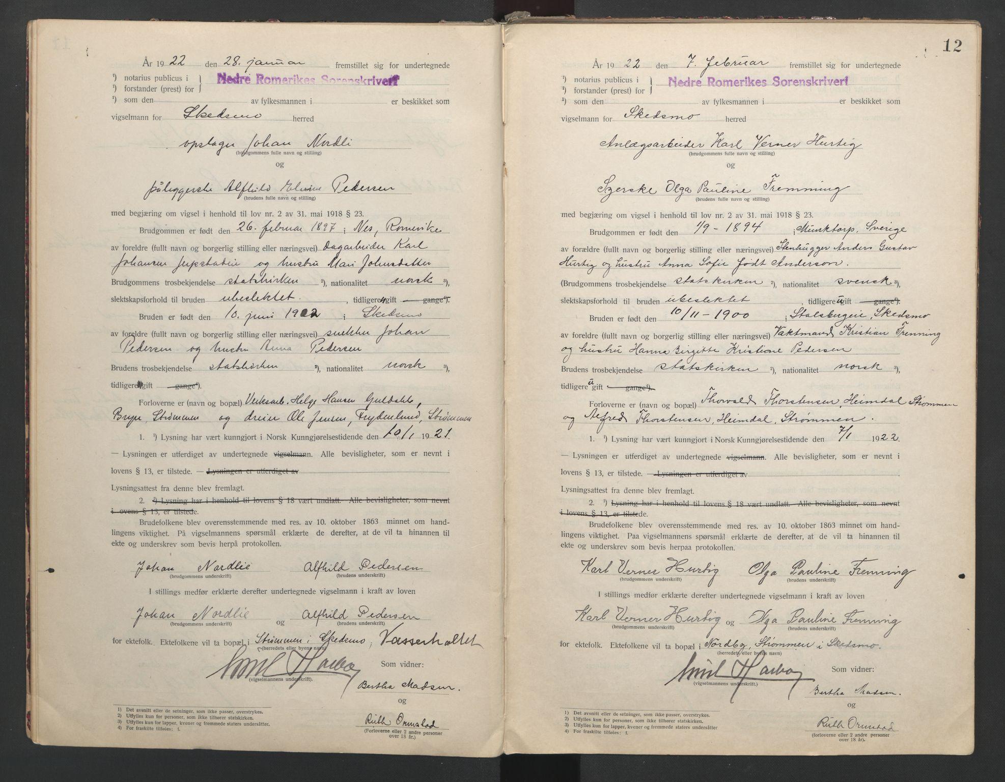 SAO, Nedre Romerike sorenskriveri, L/Lb/L0001: Vigselsbok - borgerlige vielser, 1920-1935, s. 12
