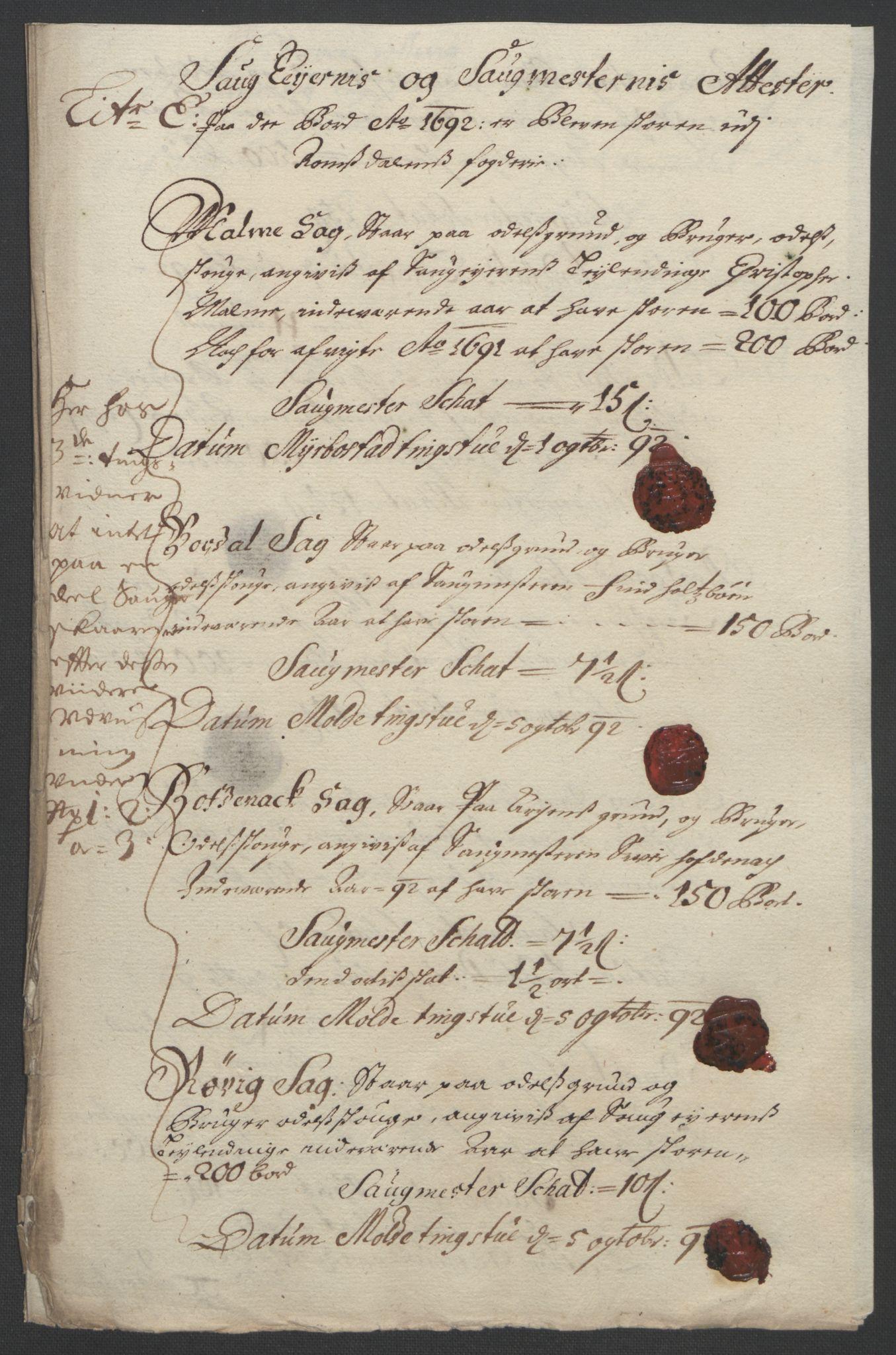 RA, Rentekammeret inntil 1814, Reviderte regnskaper, Fogderegnskap, R55/L3650: Fogderegnskap Romsdal, 1692, s. 78