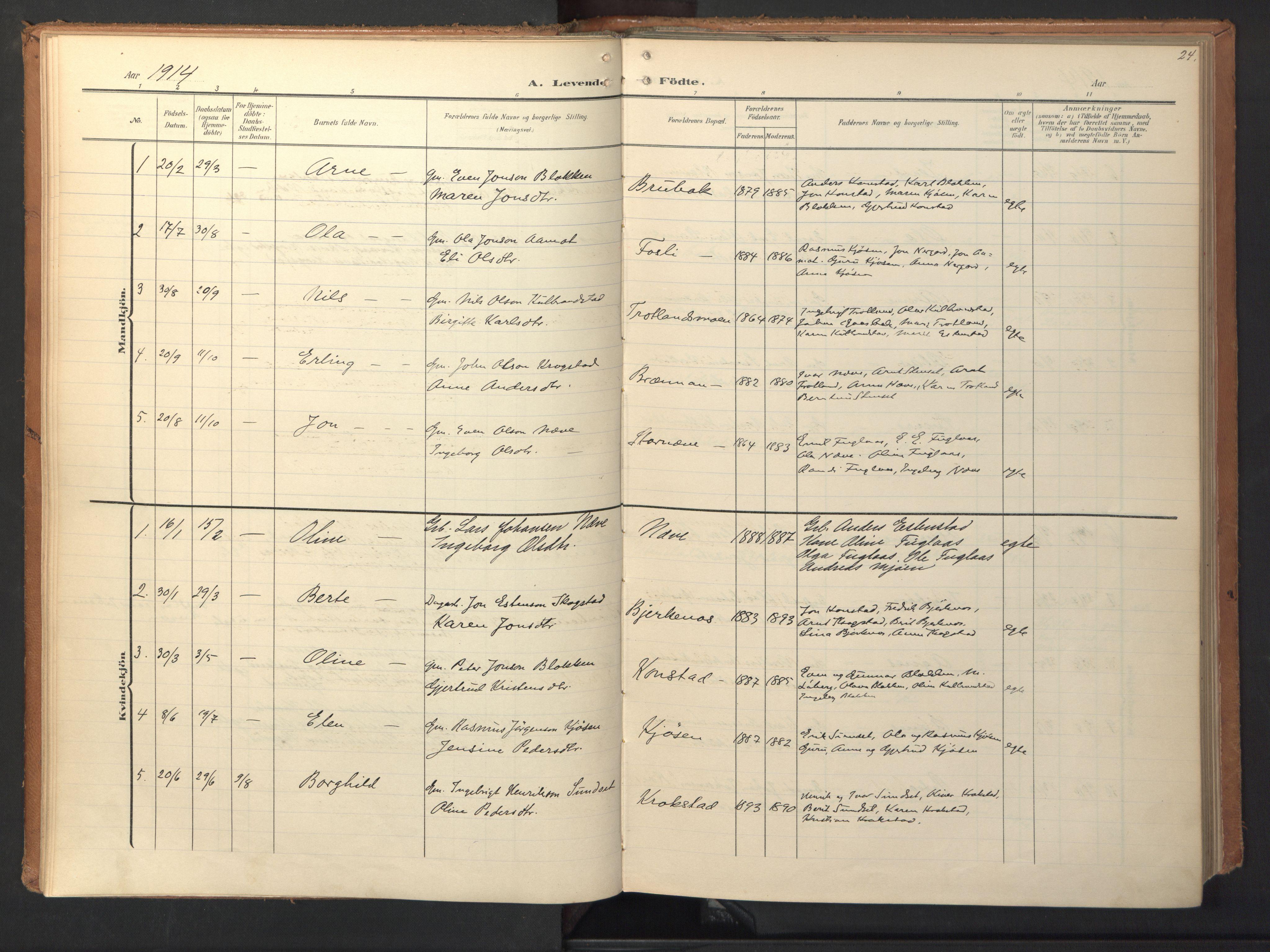 SAT, Ministerialprotokoller, klokkerbøker og fødselsregistre - Sør-Trøndelag, 694/L1128: Ministerialbok nr. 694A02, 1906-1931, s. 24