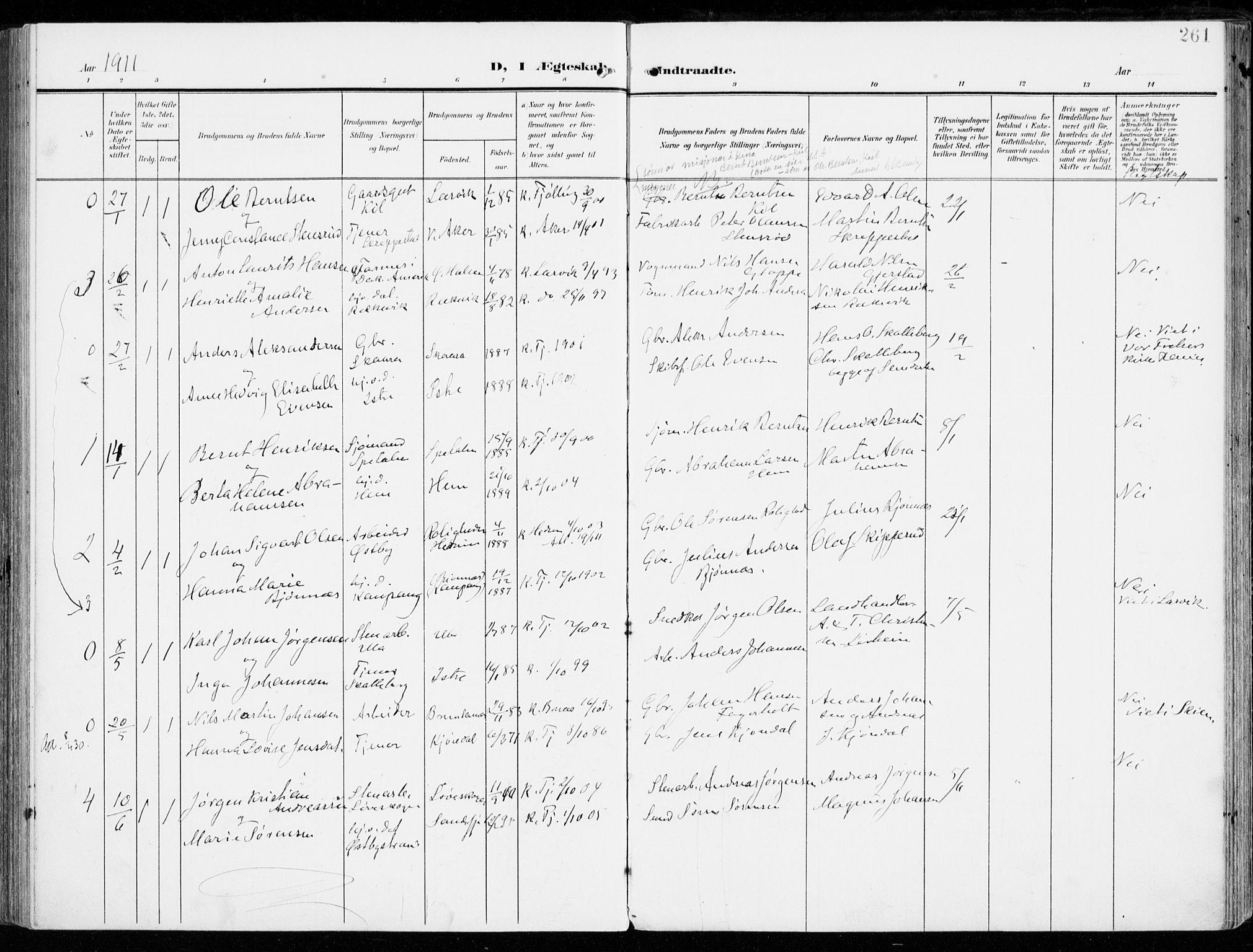 SAKO, Tjølling kirkebøker, F/Fa/L0010: Ministerialbok nr. 10, 1906-1923, s. 261