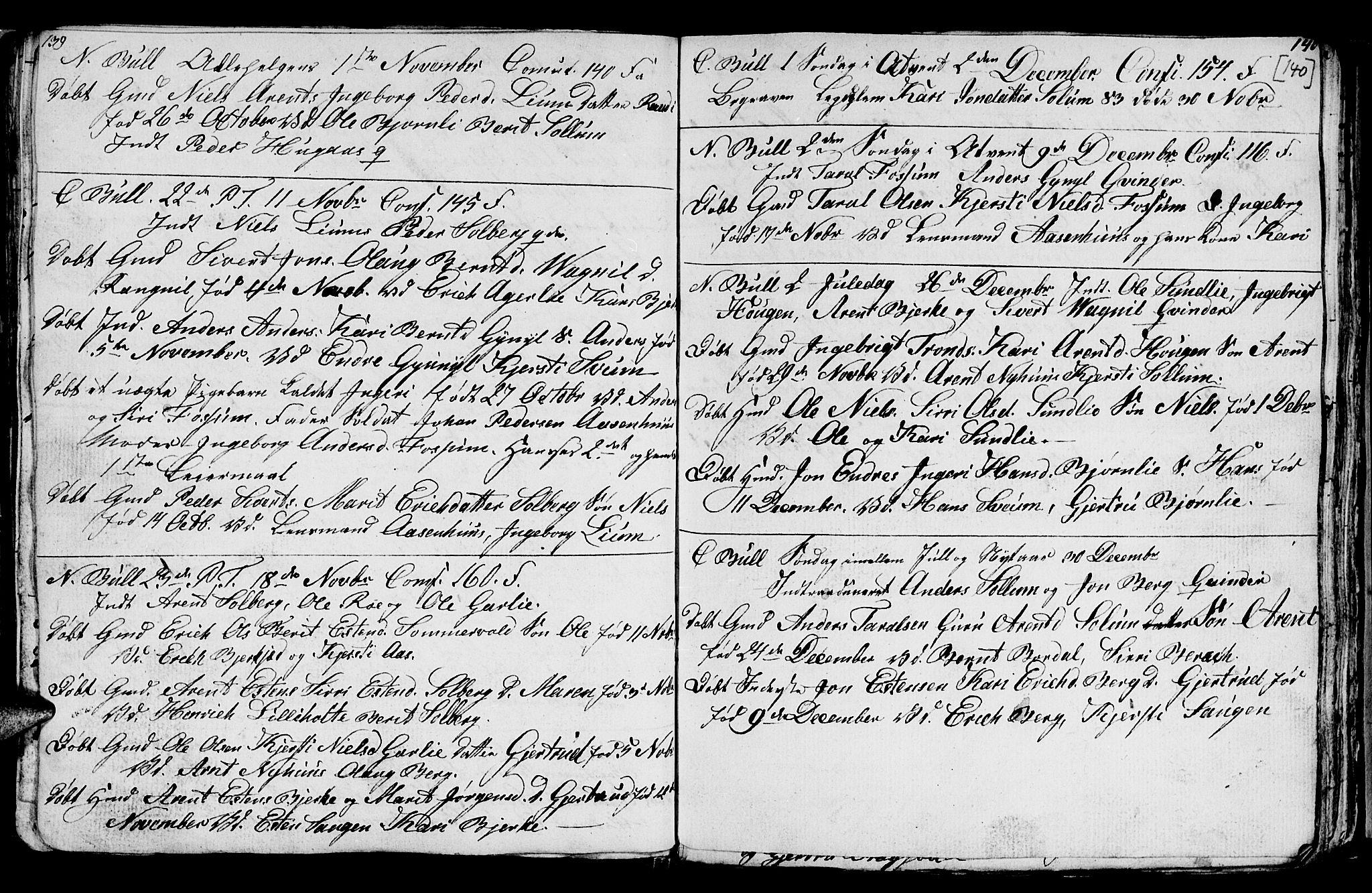 SAT, Ministerialprotokoller, klokkerbøker og fødselsregistre - Sør-Trøndelag, 689/L1042: Klokkerbok nr. 689C01, 1812-1841, s. 139-140