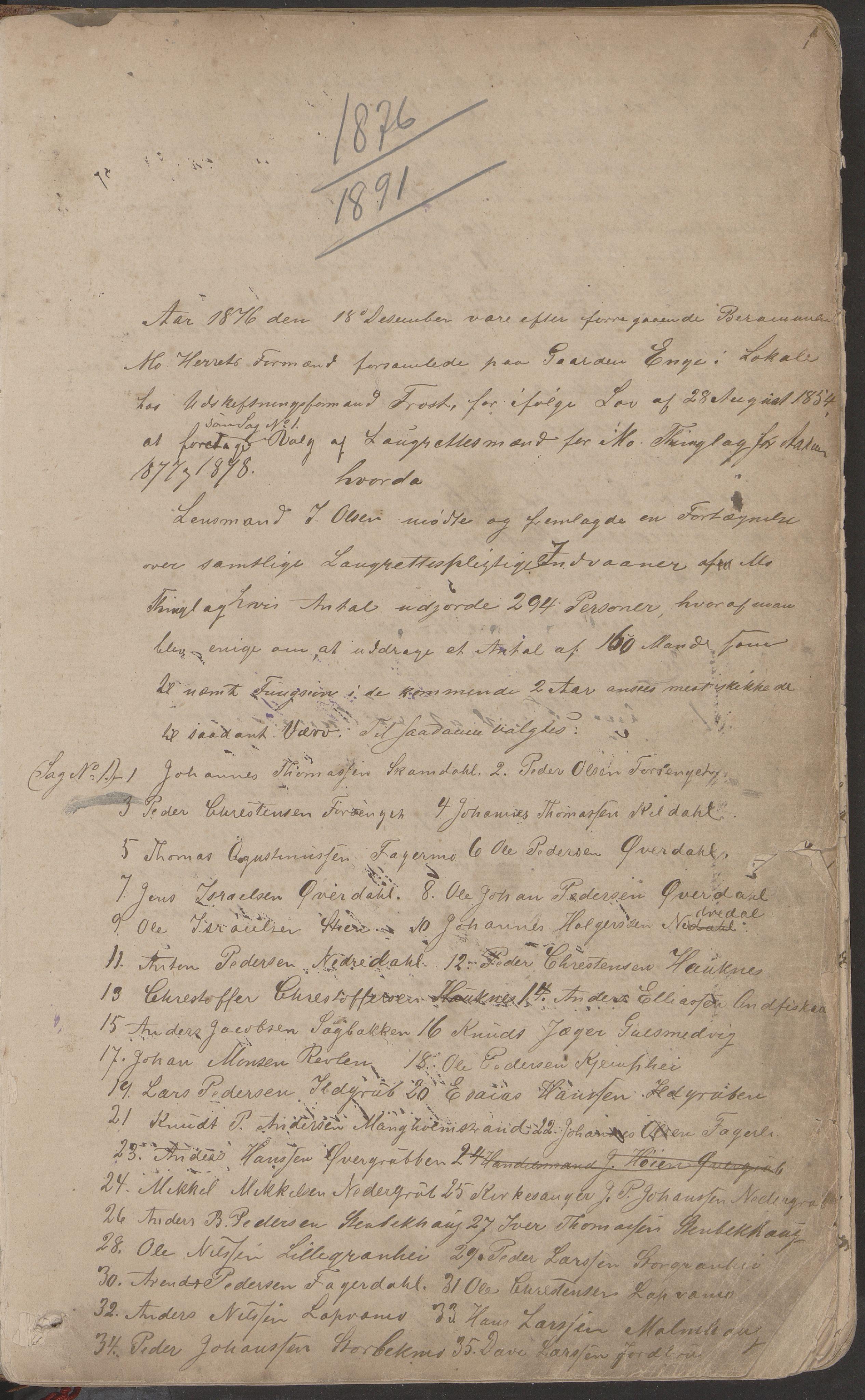 AIN, Mo kommune. Formannskapet, A/Aa/L0002: Møtebok, 1876-1891, s. 1